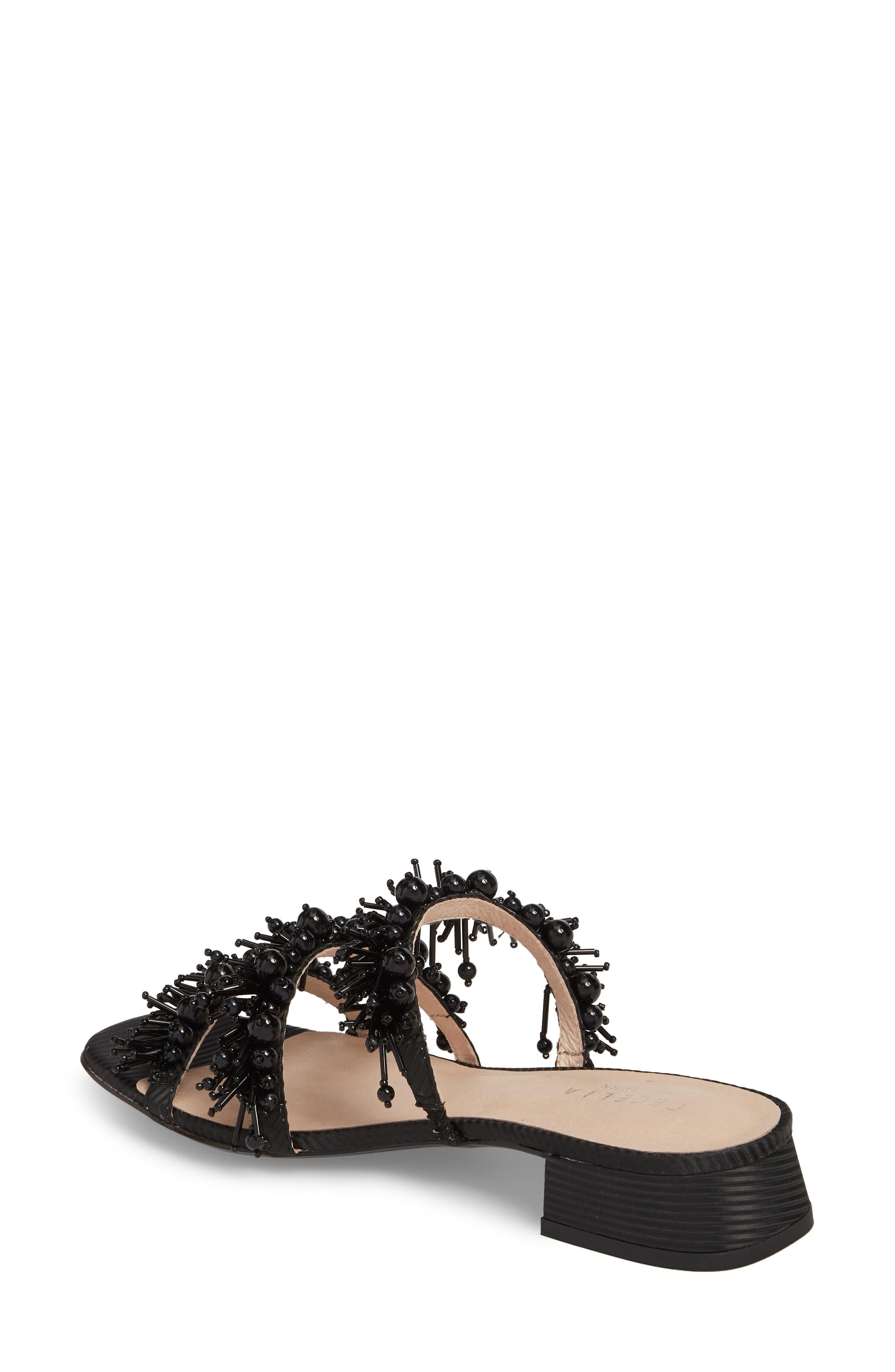 Fes Embellished Slide Sandal,                             Alternate thumbnail 2, color,                             BLACK FABRIC