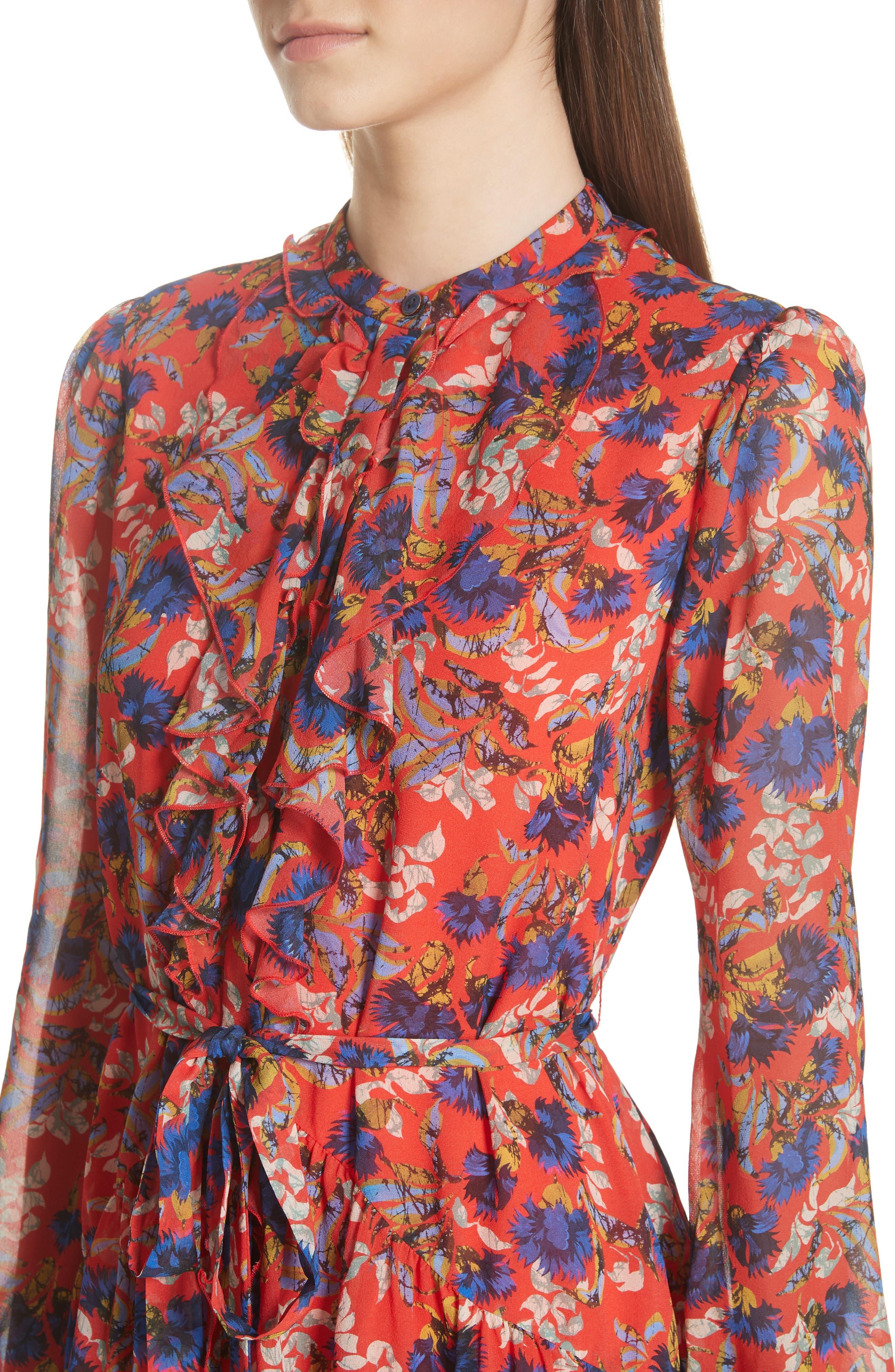 Tilly Ruffle Bib Silk Dress,                             Alternate thumbnail 4, color,                             FLAME AZALEA