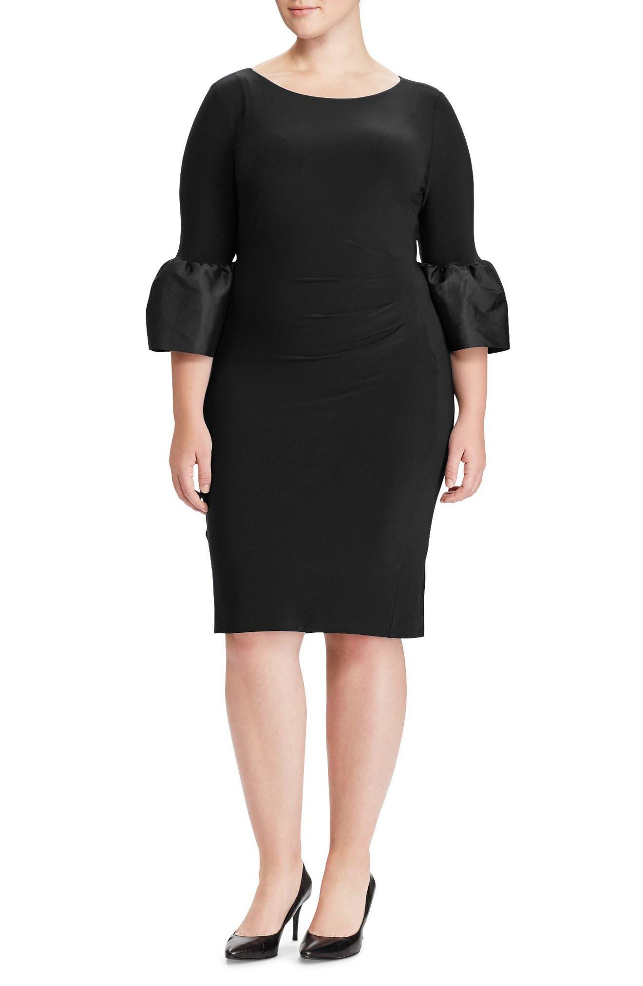 Taffeta Cuff Jersey Dress,                             Main thumbnail 1, color,                             001