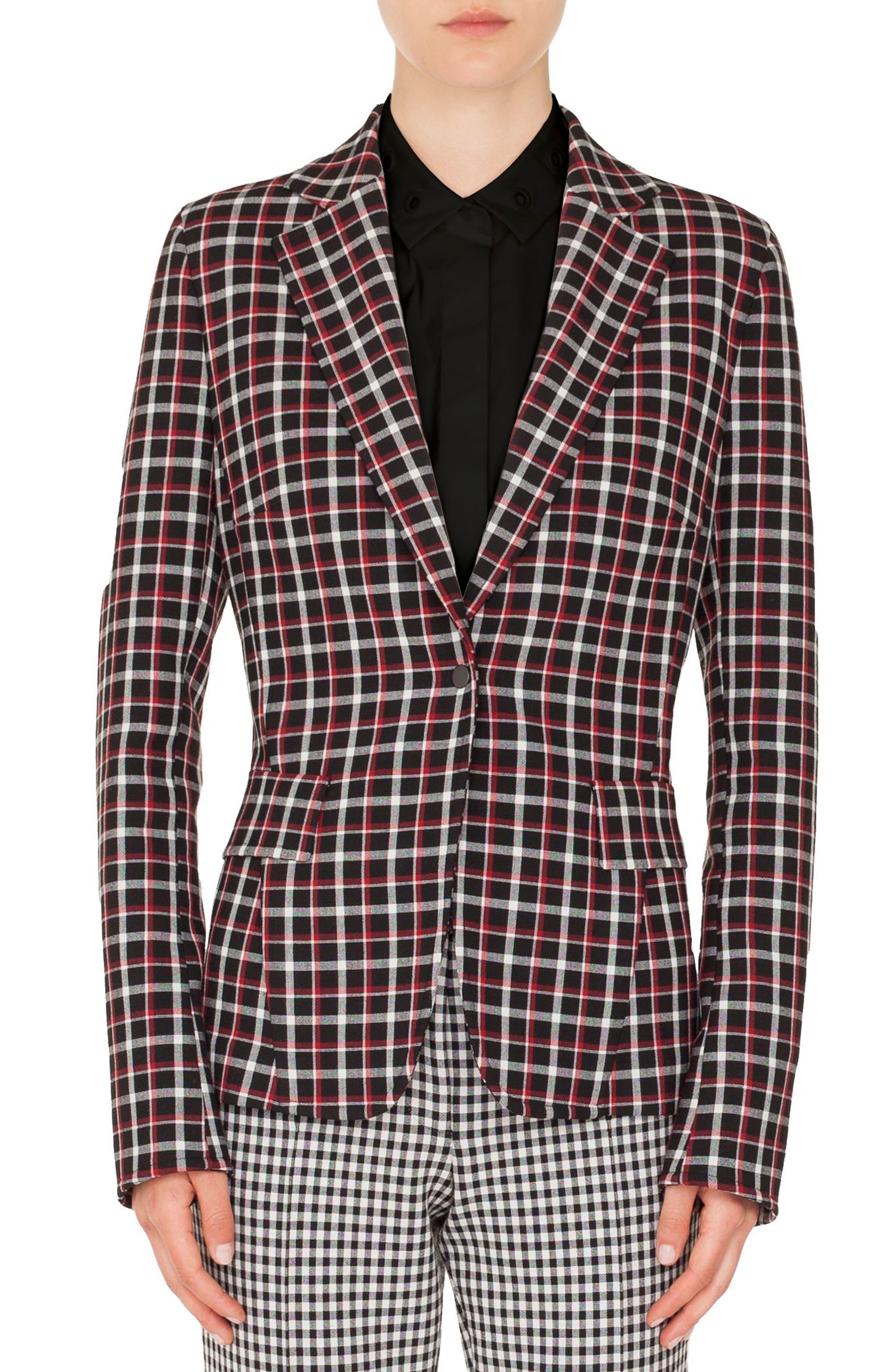 Checked Single-Button Blazer,                             Main thumbnail 1, color,                             BLACK-LIPSTICK-CREAM