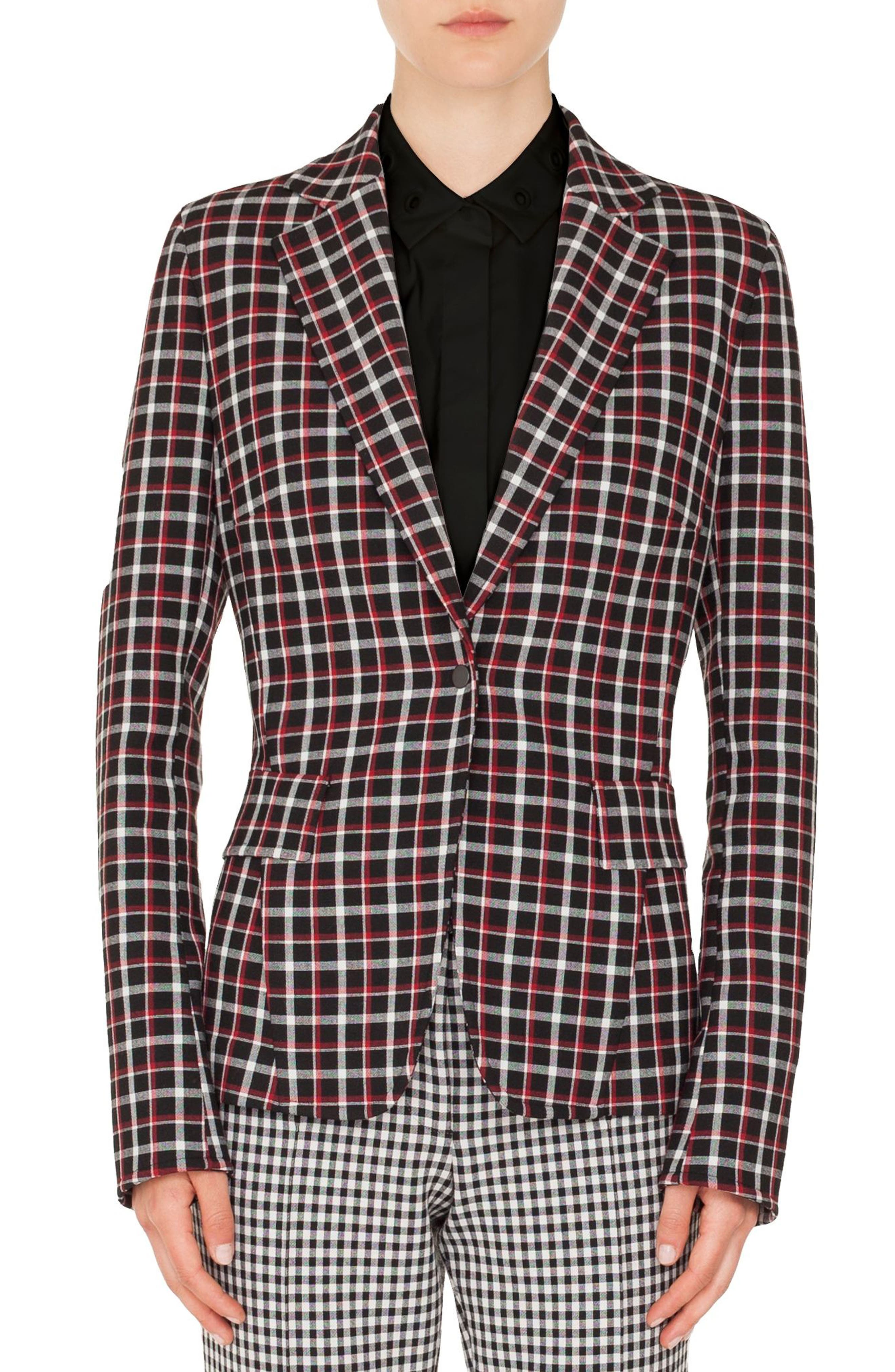 Checked Single-Button Blazer,                         Main,                         color, BLACK-LIPSTICK-CREAM