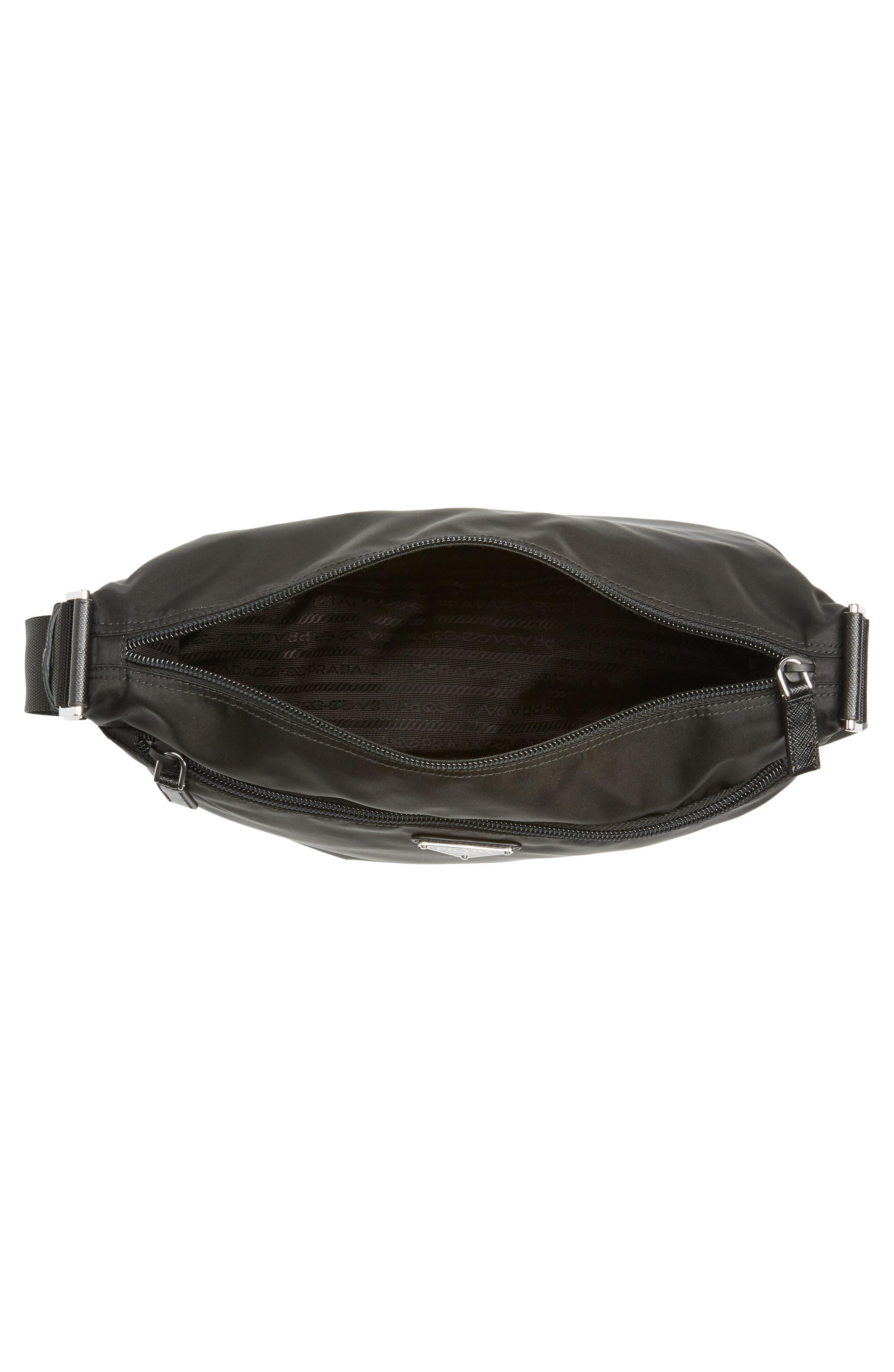 Large Nylon Crossbody Bag,                             Alternate thumbnail 4, color,                             NERO