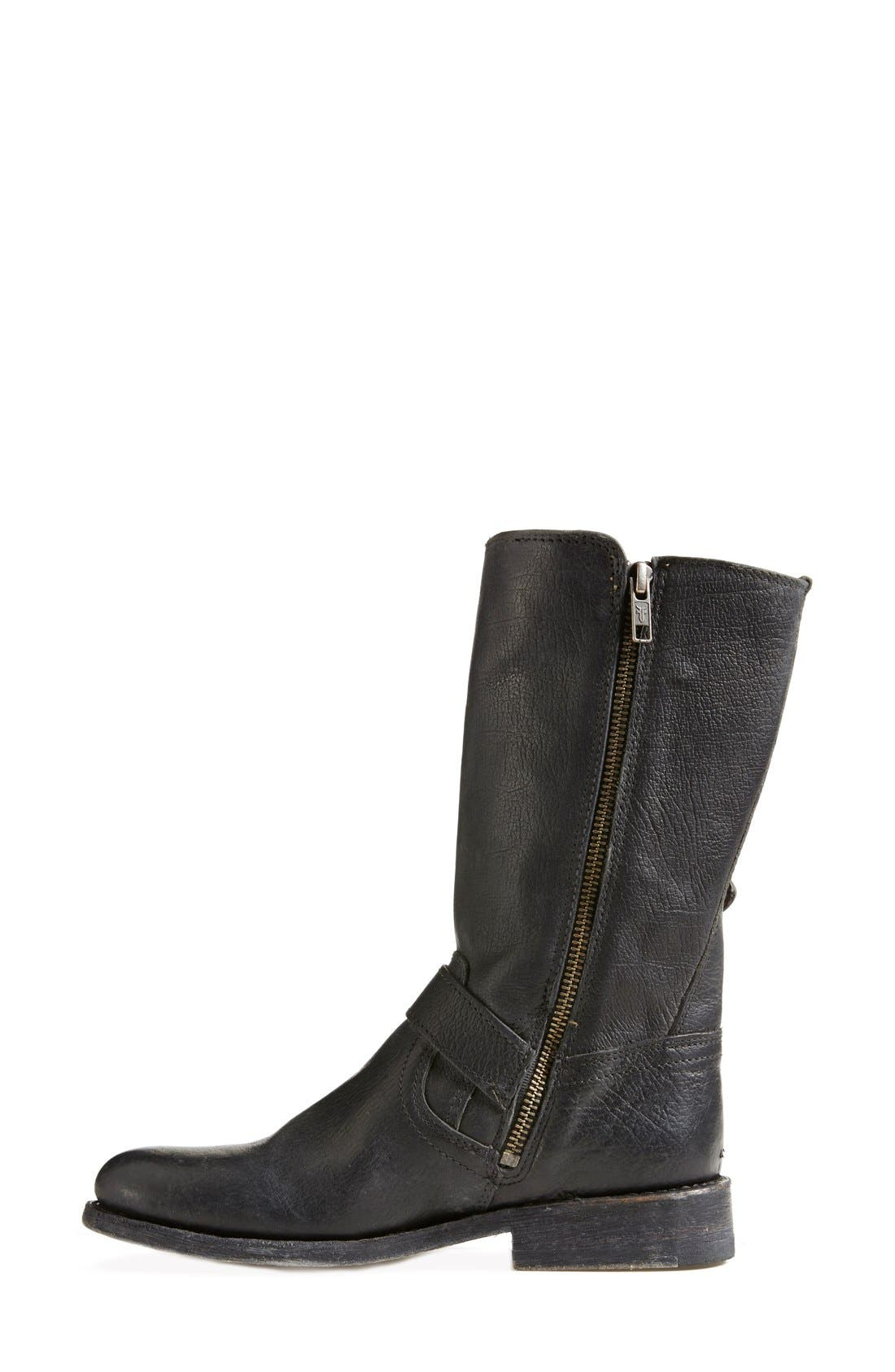 'Jayden' Leather Moto Boot,                             Alternate thumbnail 5, color,                             001