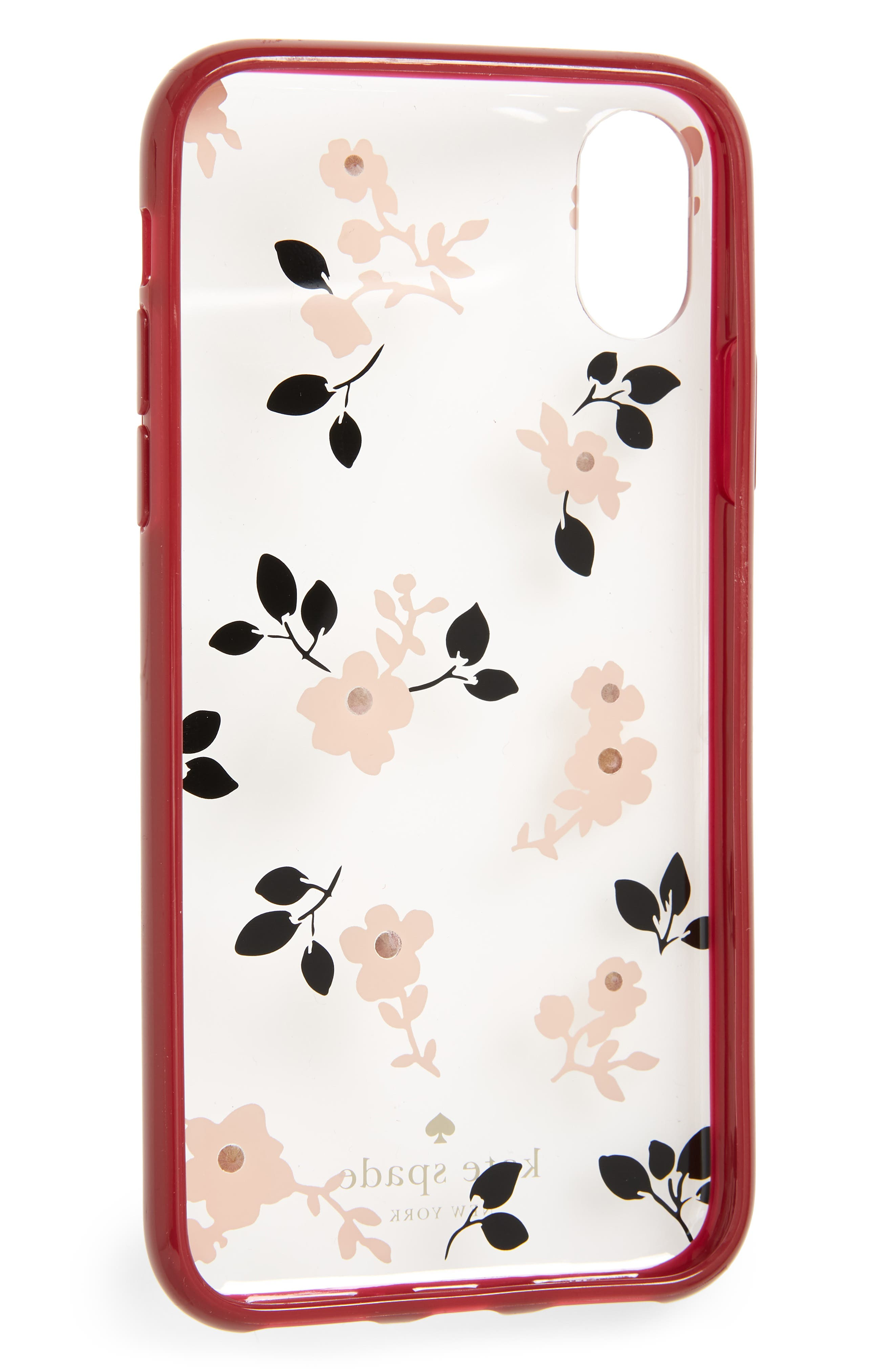 jeweled camellia iPhone X/Xs case,                             Alternate thumbnail 2, color,                             CLEAR MULTI