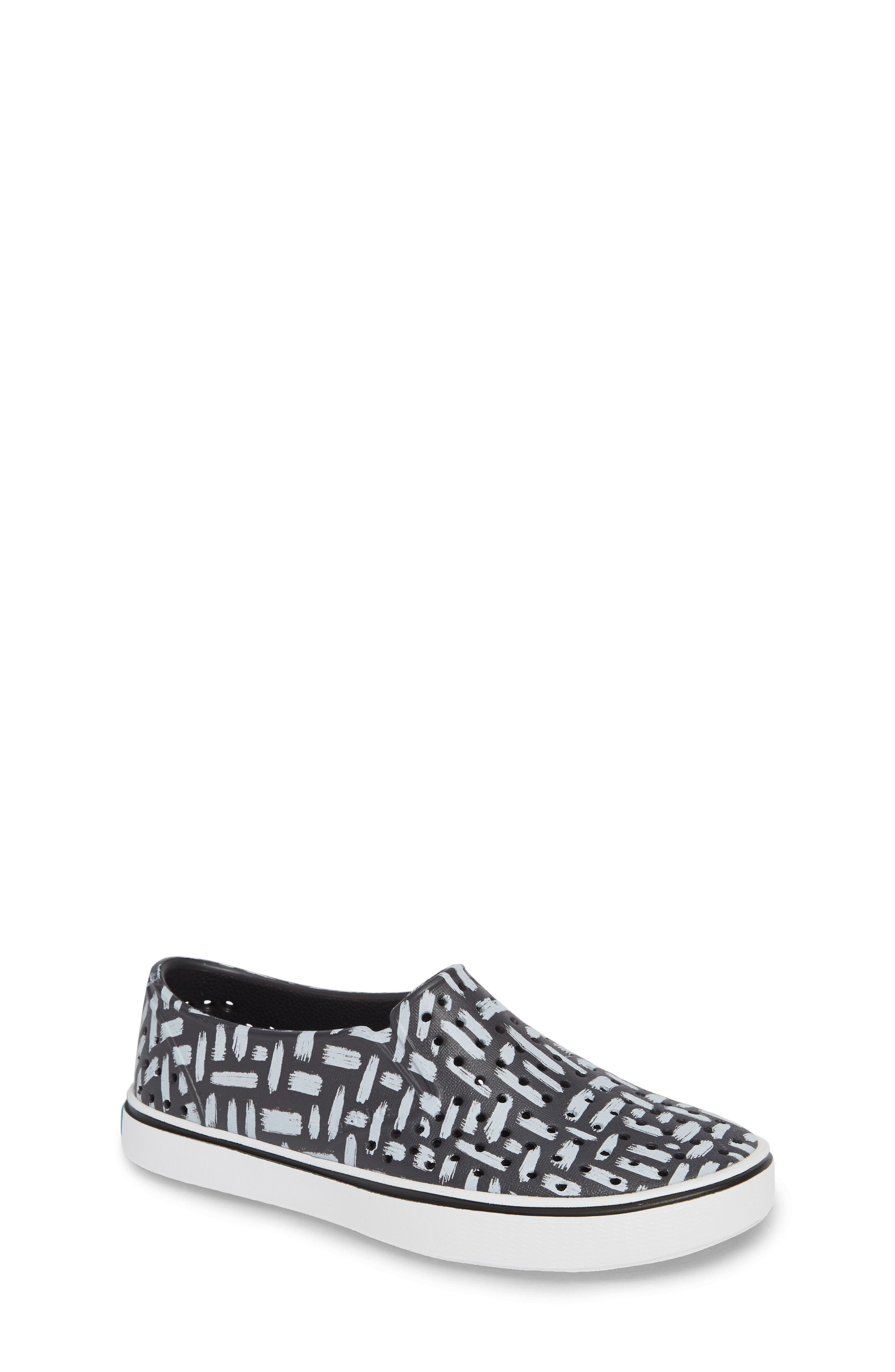 Miles Print Slip-On Sneaker,                             Main thumbnail 1, color,                             ONYX/ SHELL WHITE/ INKWELL