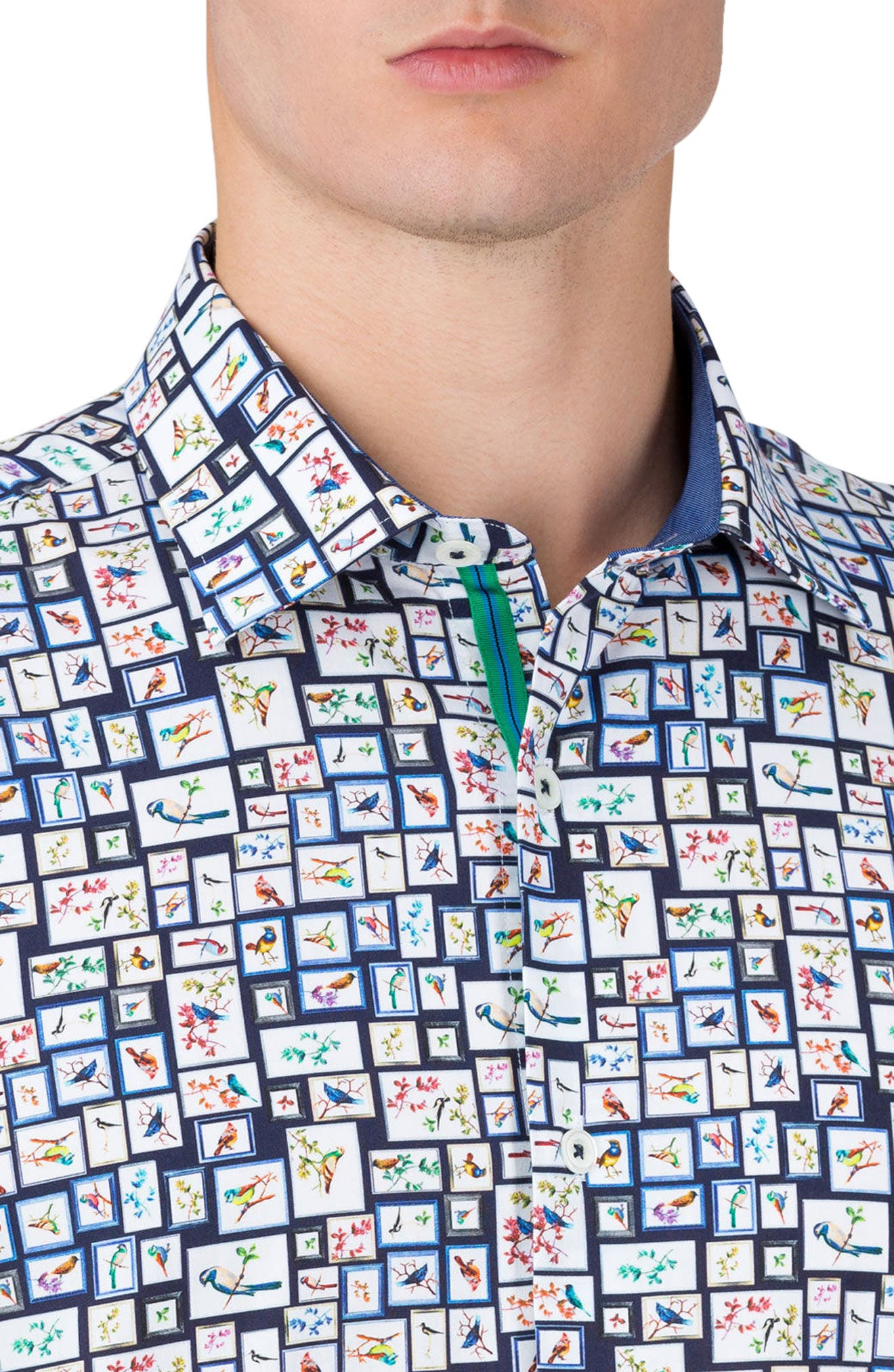 Shaped Fit Print Sport Shirt,                             Alternate thumbnail 3, color,