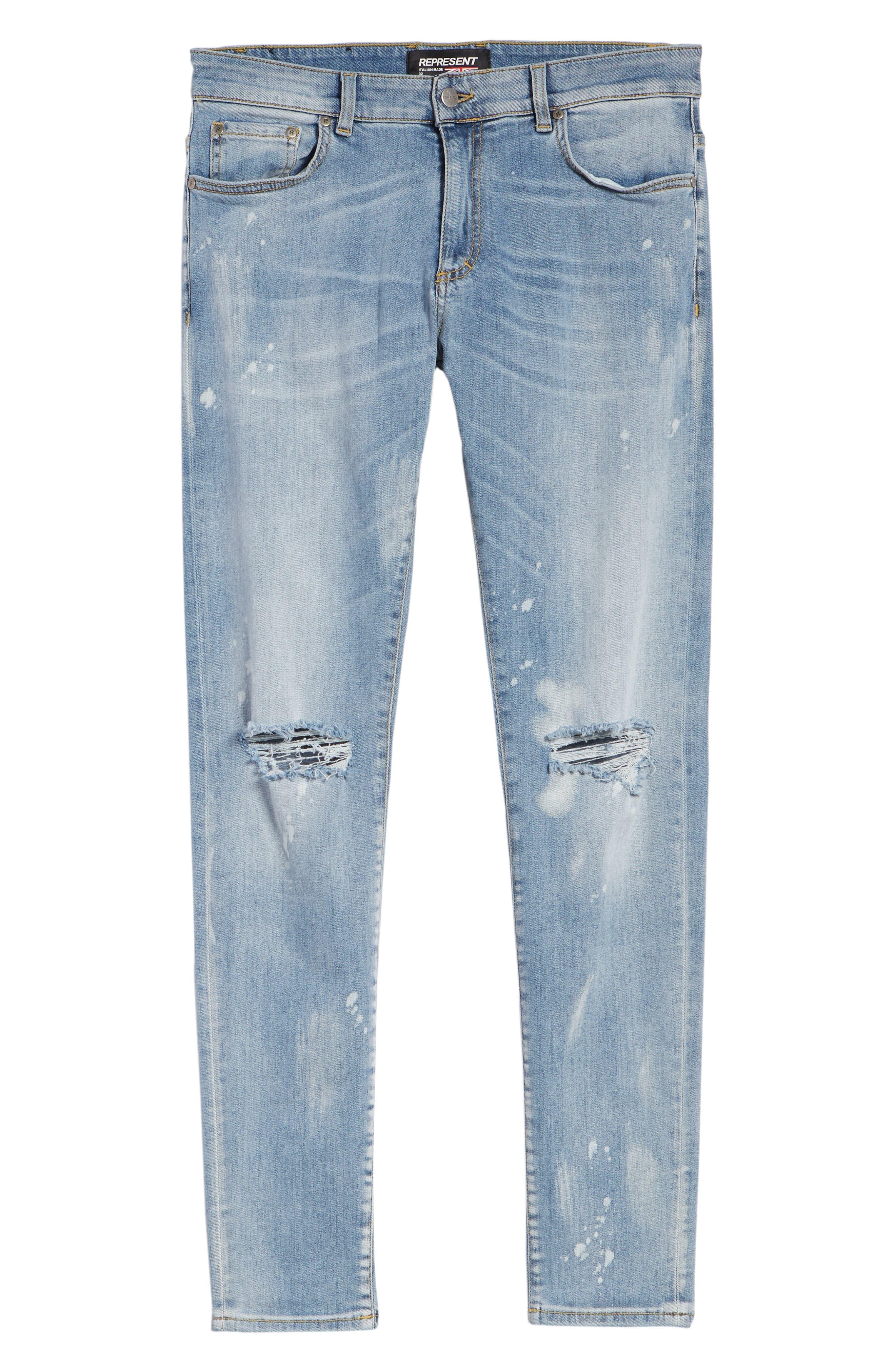 Destroyer Ripped Slim Fit Jeans,                             Alternate thumbnail 6, color,                             BLUE