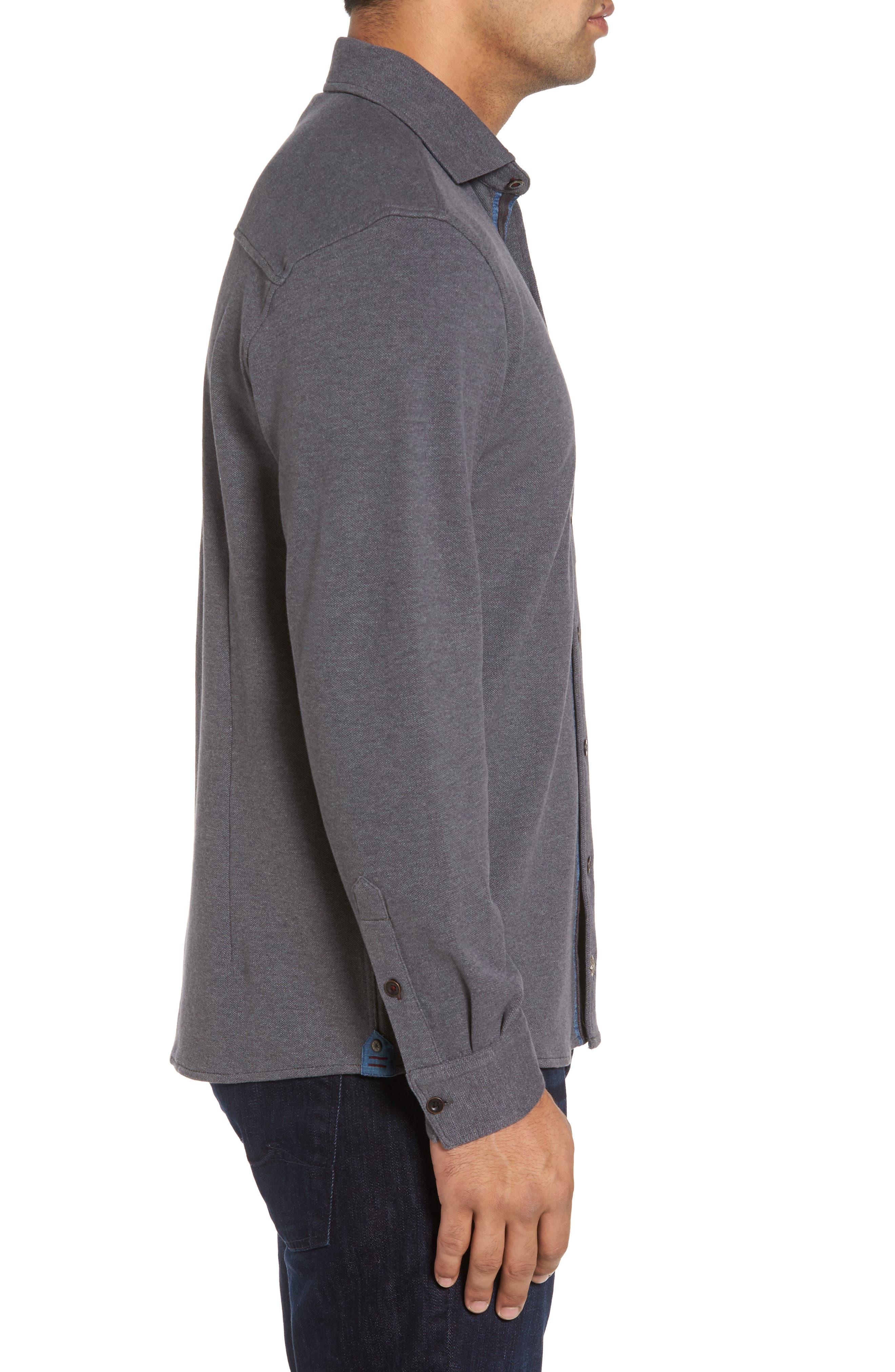 Shandy Heathered Knit Sport Shirt,                             Alternate thumbnail 3, color,                             014