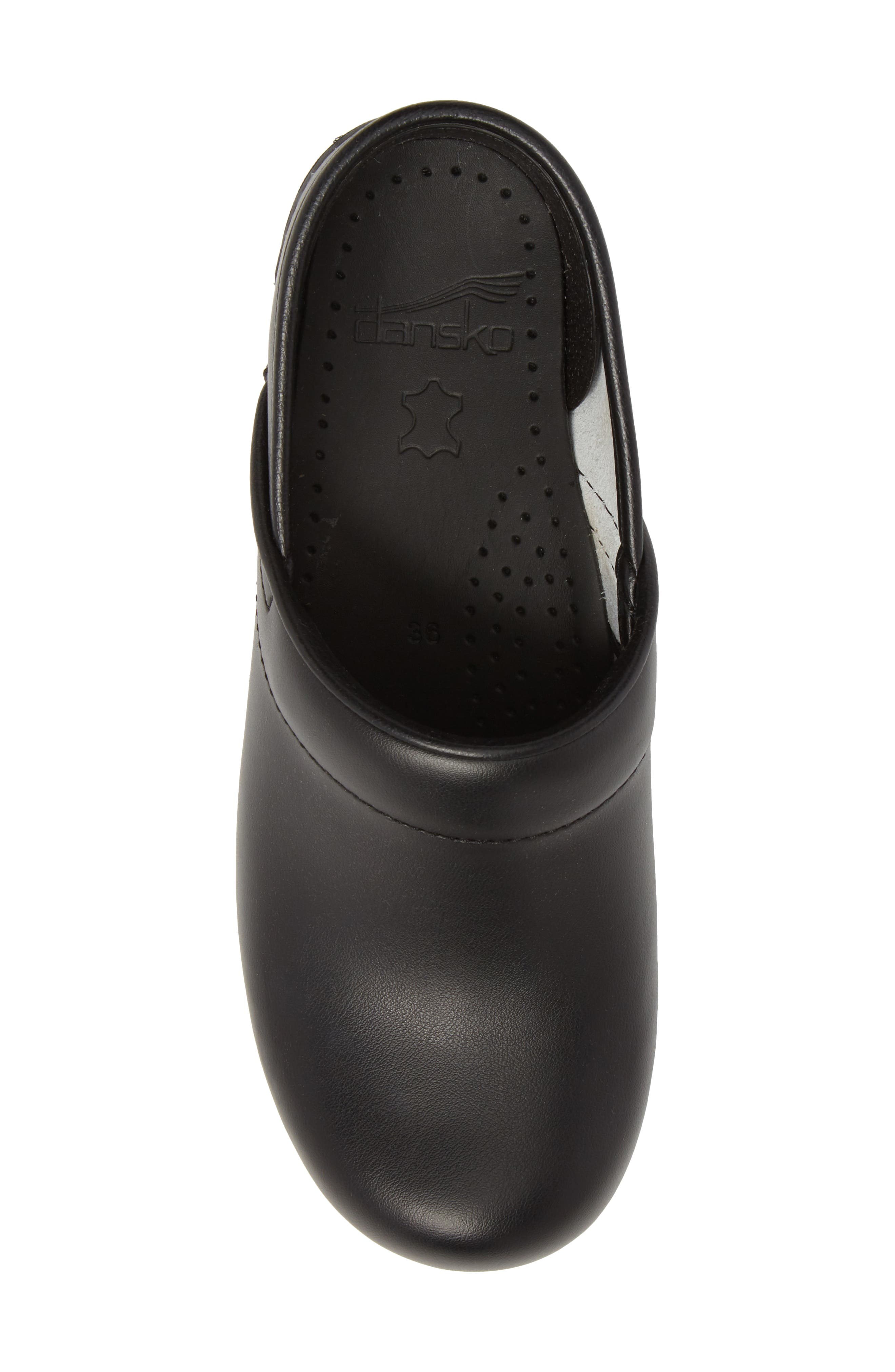 'Professional' Clog,                             Alternate thumbnail 5, color,                             BLACK LEATHER