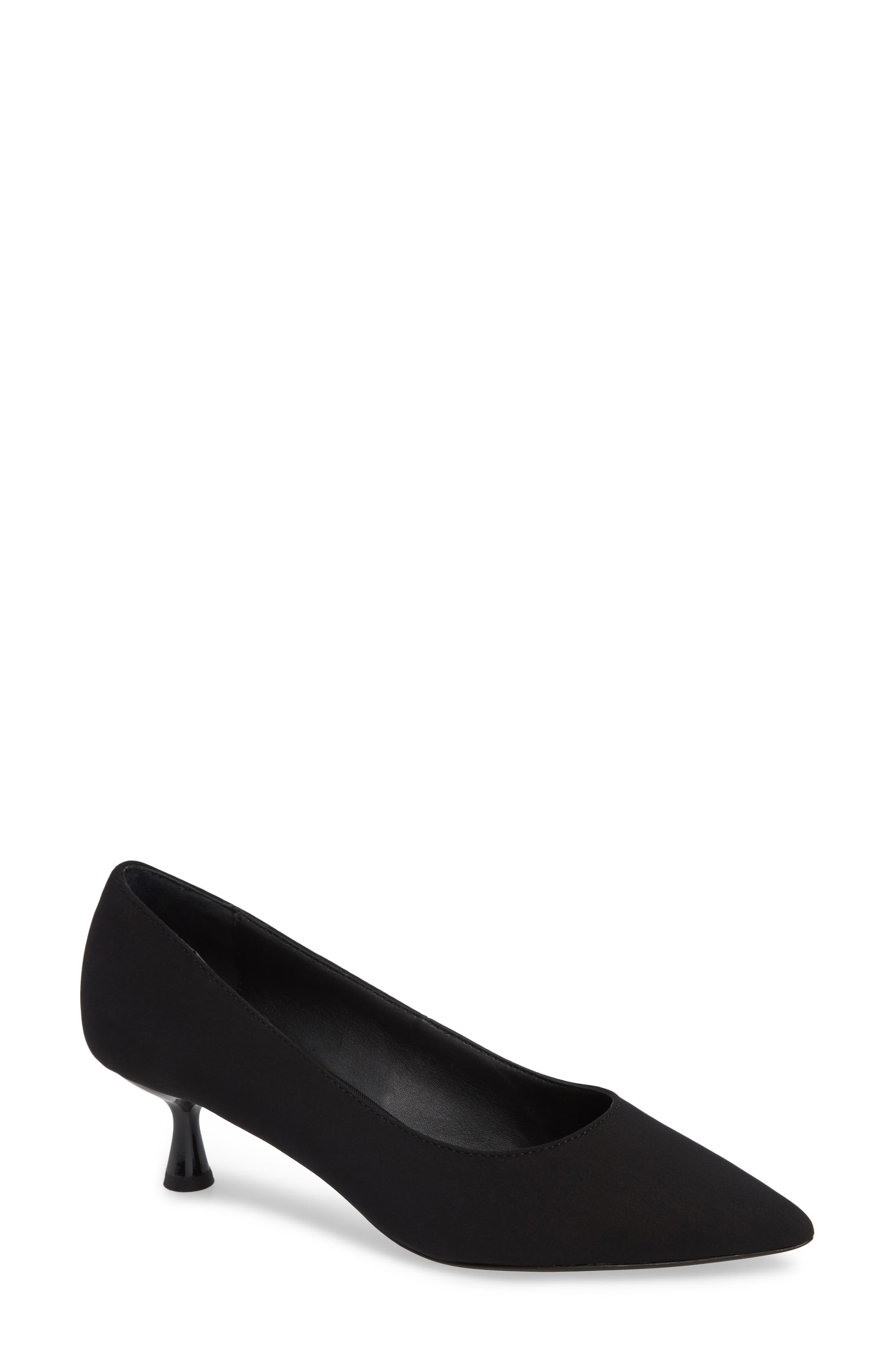DONALD PLINER Bon Pointed-Toe Low Crepe Pumps in Black Crepe