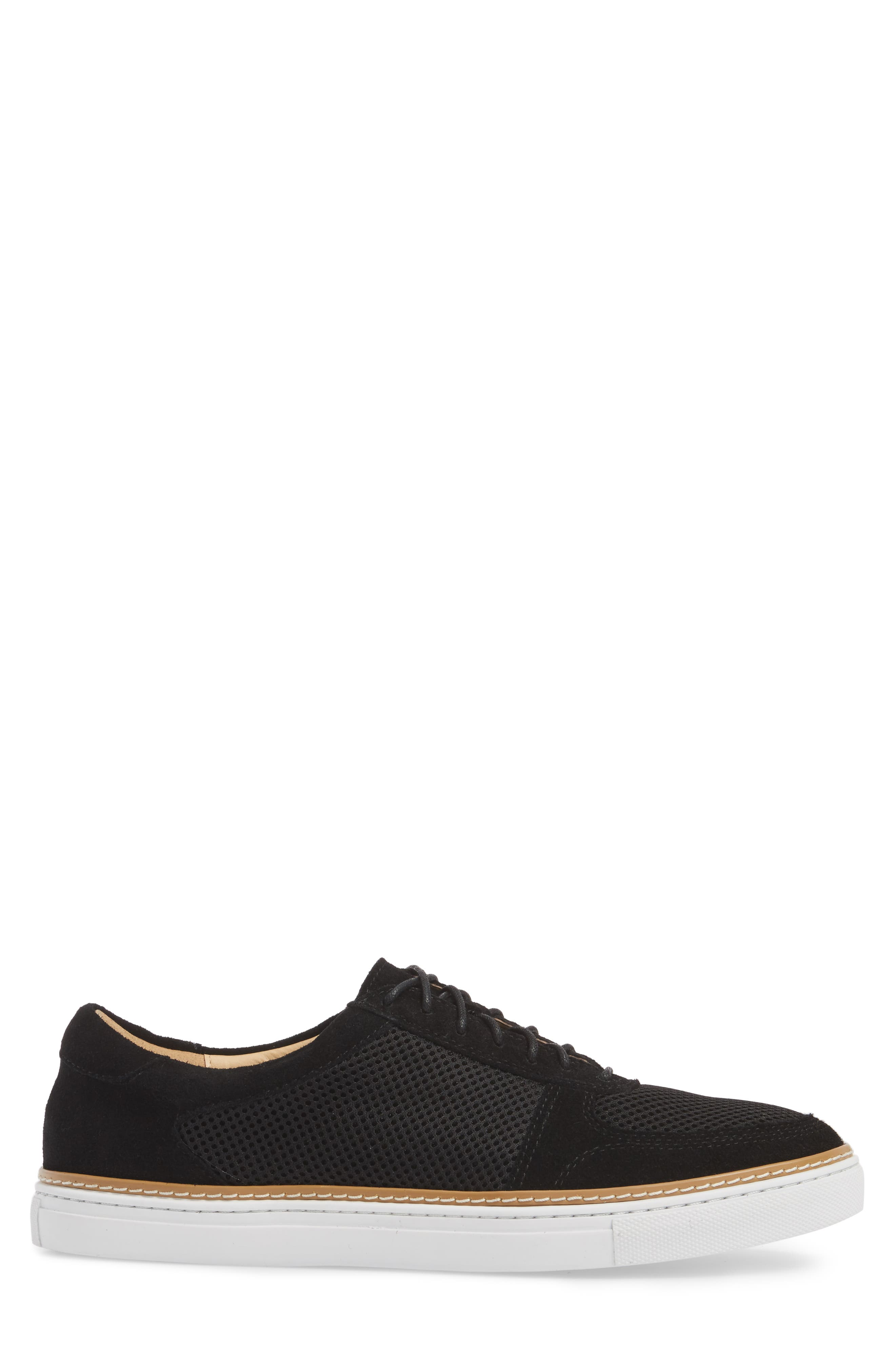 Landseer Mesh Sneaker,                             Alternate thumbnail 3, color,                             BLACK SUEDE/ MESH