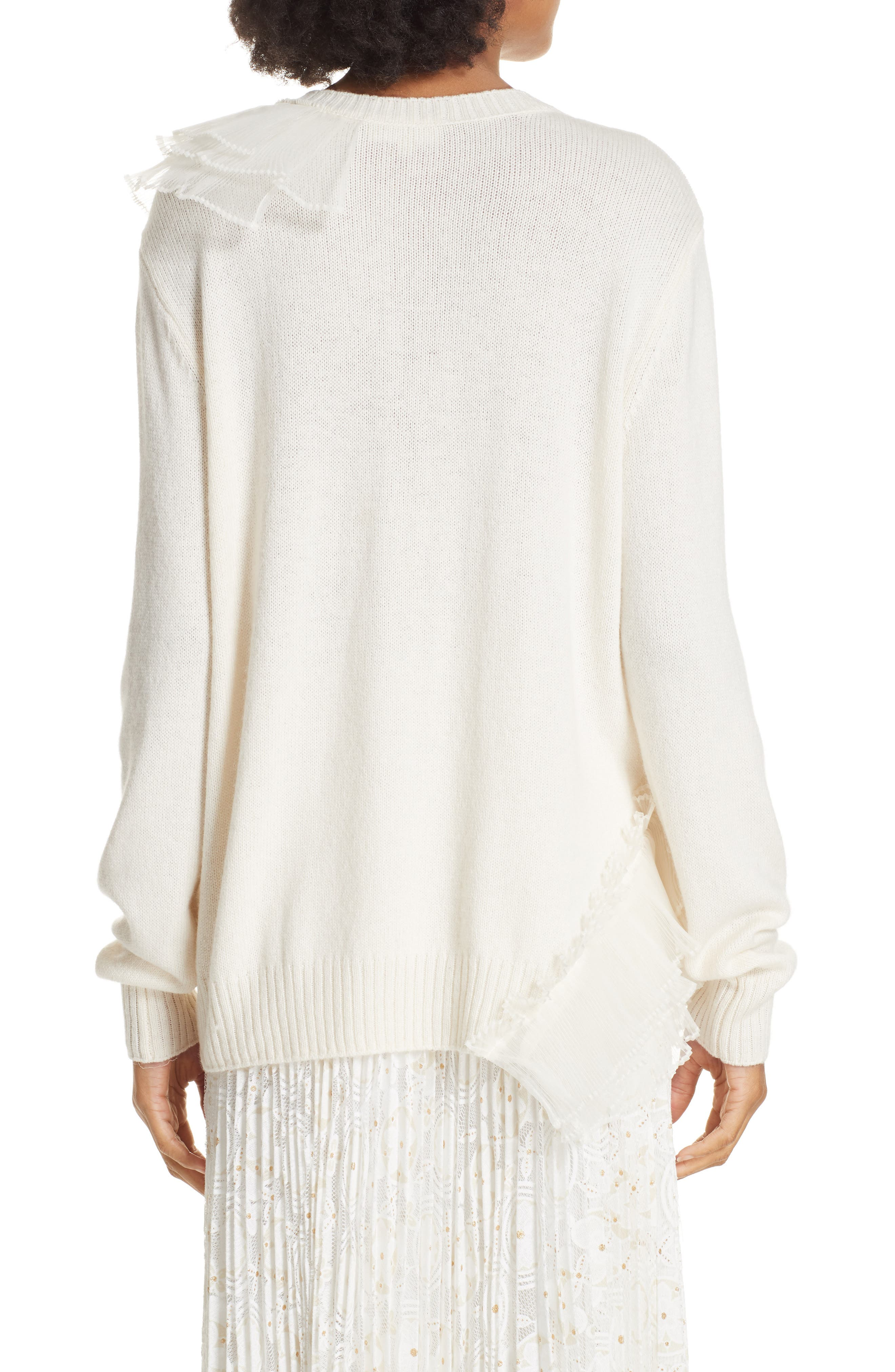 Asymmetric Ruffle Trim Sweater,                             Alternate thumbnail 2, color,                             IVORY