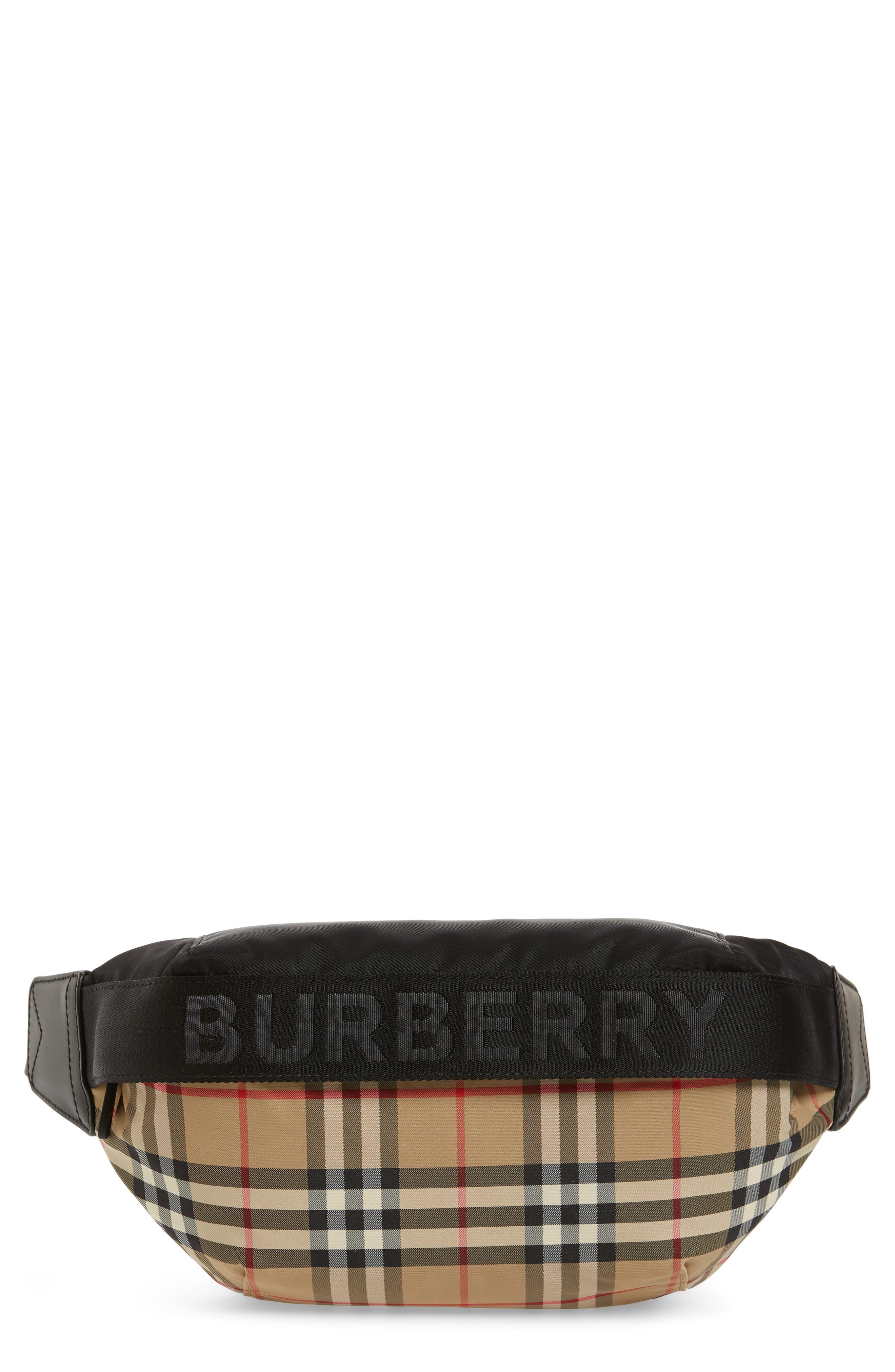 BURBERRY,                             Burberrry Medium Sonny Vintage Check Belt Bag,                             Main thumbnail 1, color,                             ARCHIVE BEIGE