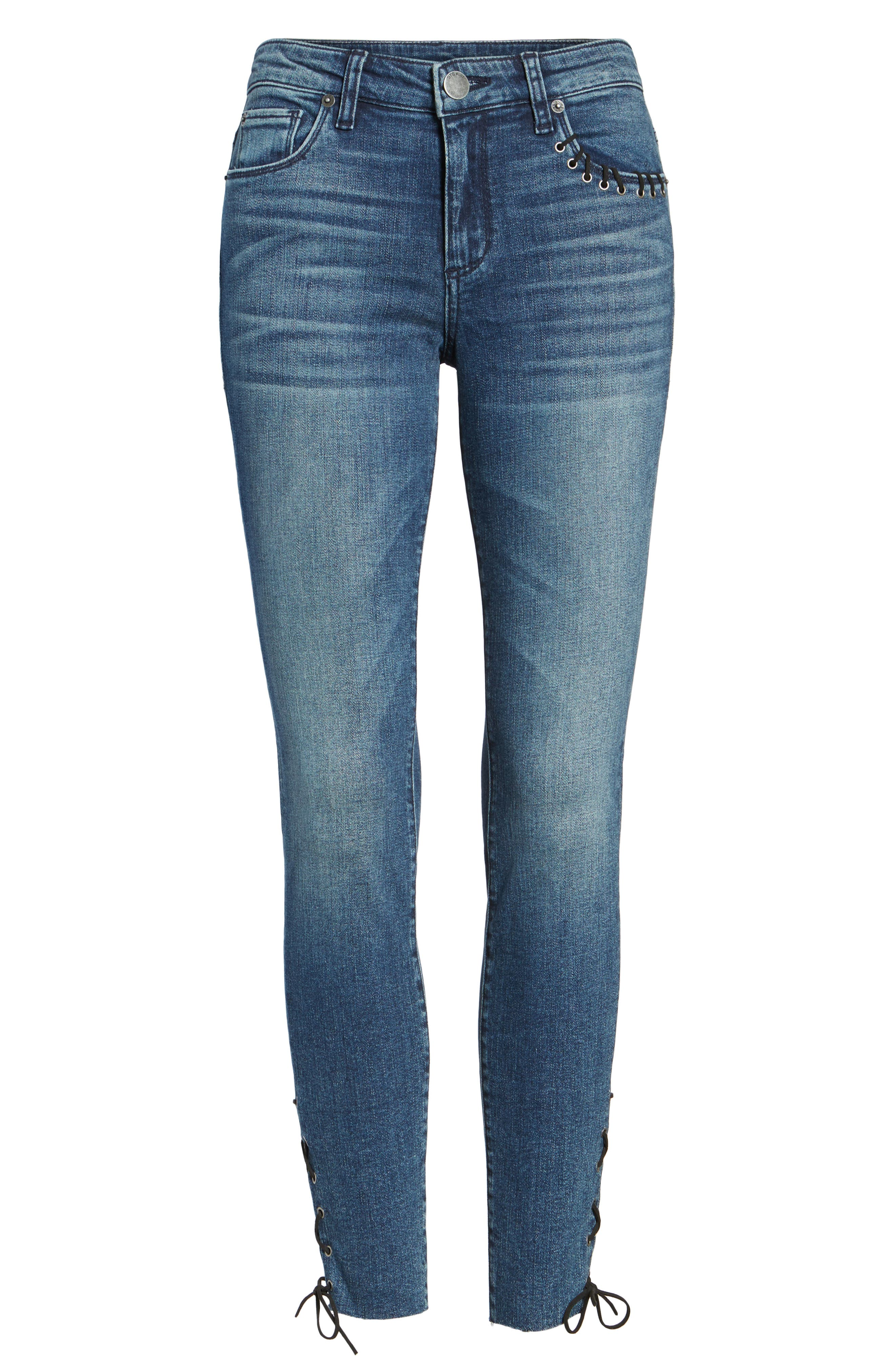 Emma Lace-Up Ankle Skinny Jeans,                             Alternate thumbnail 6, color,                             400