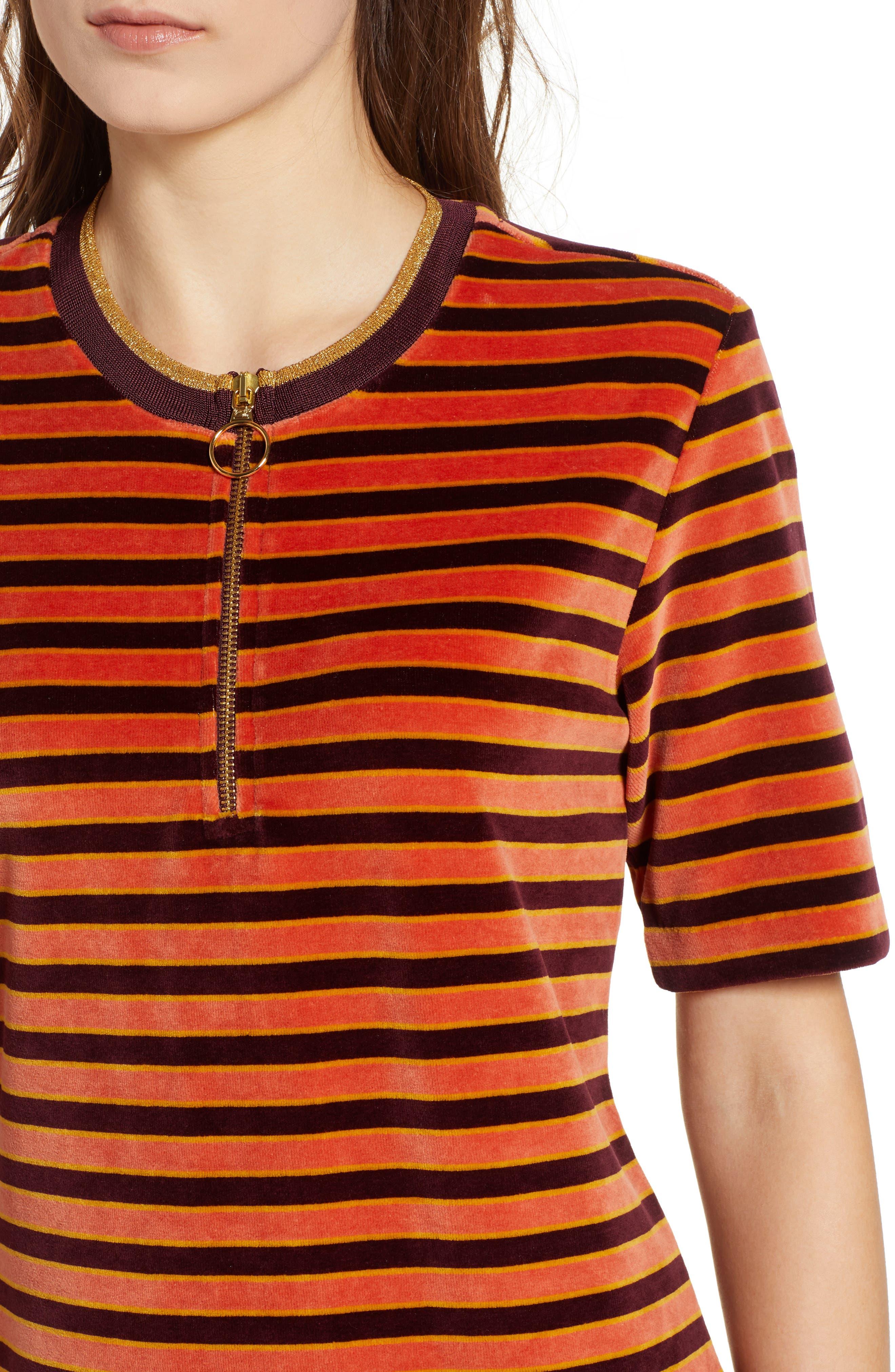 Striped Short Sleeve Velour Dress,                             Alternate thumbnail 4, color,                             ORANGE BURGUNDY STRIPE