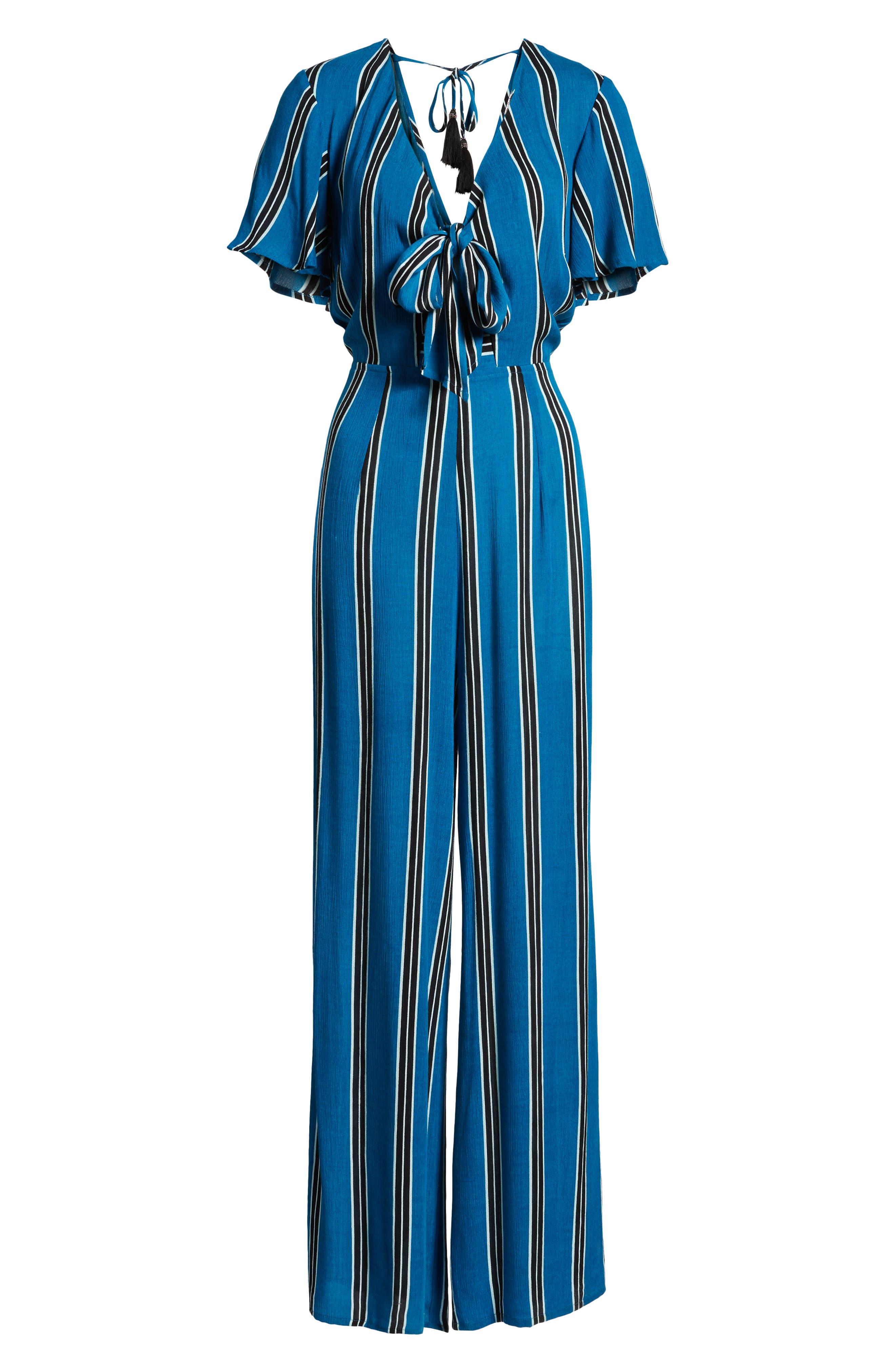 Knot Front Stripe Jumpsuit,                             Alternate thumbnail 7, color,                             BLUE/ BLACK