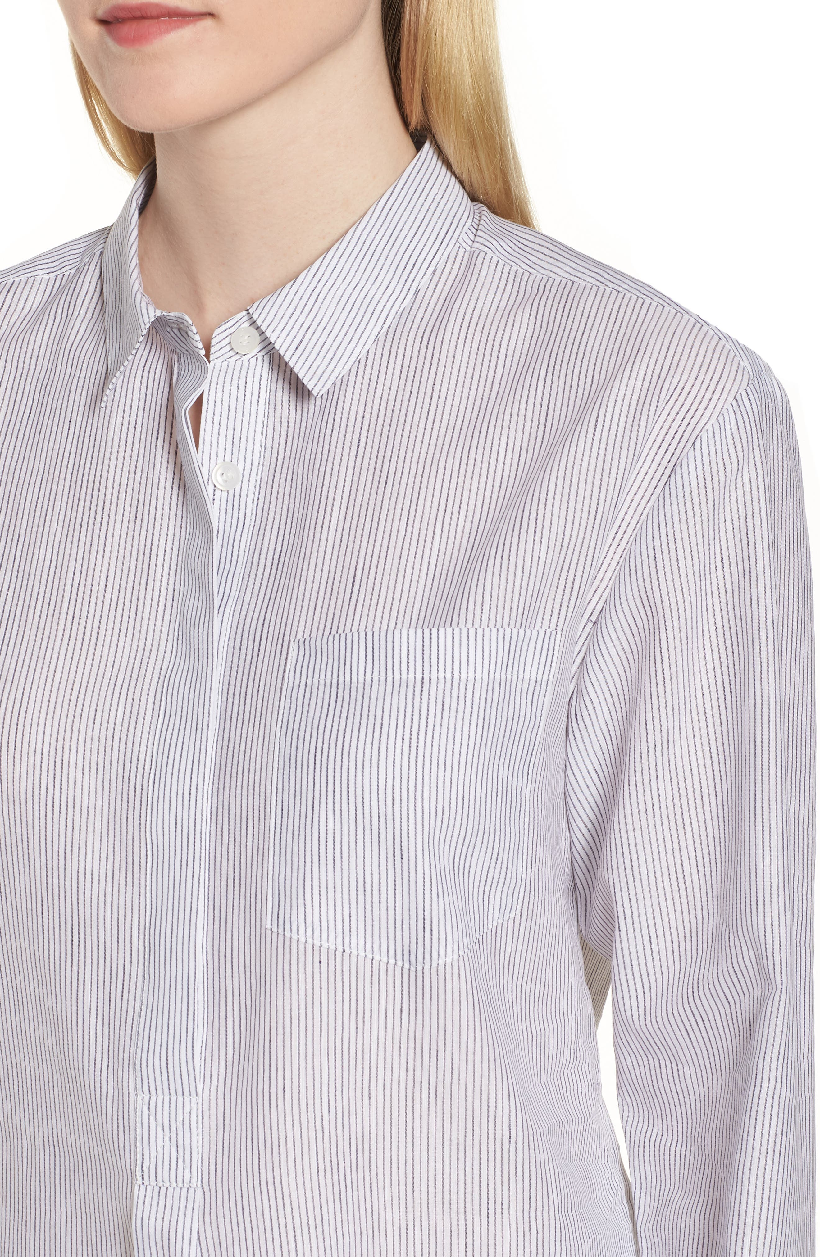 Stripe Popover Shirt,                             Alternate thumbnail 4, color,                             100