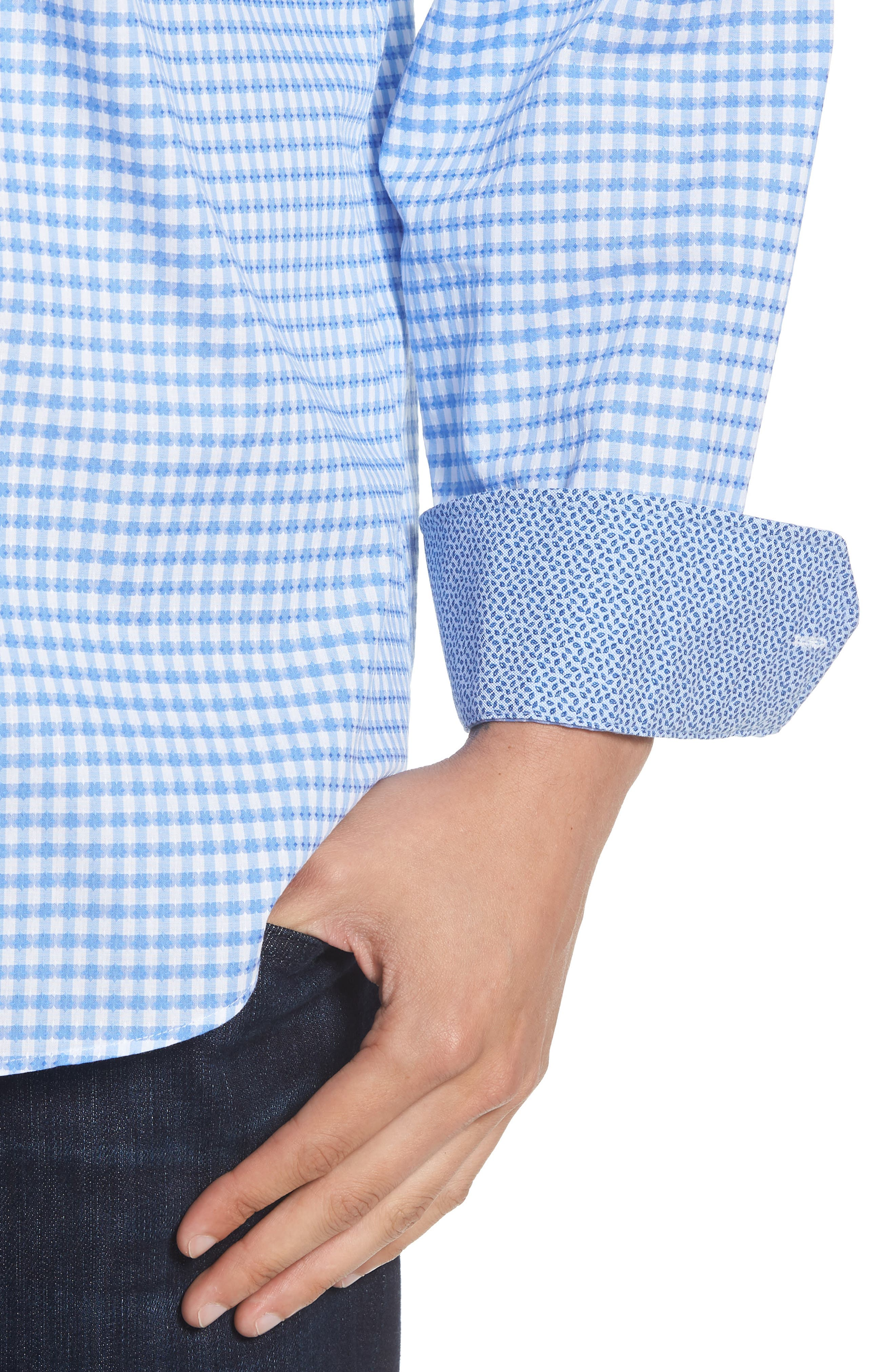 Classic Fit Mini Check Sport Shirt,                             Alternate thumbnail 4, color,                             423