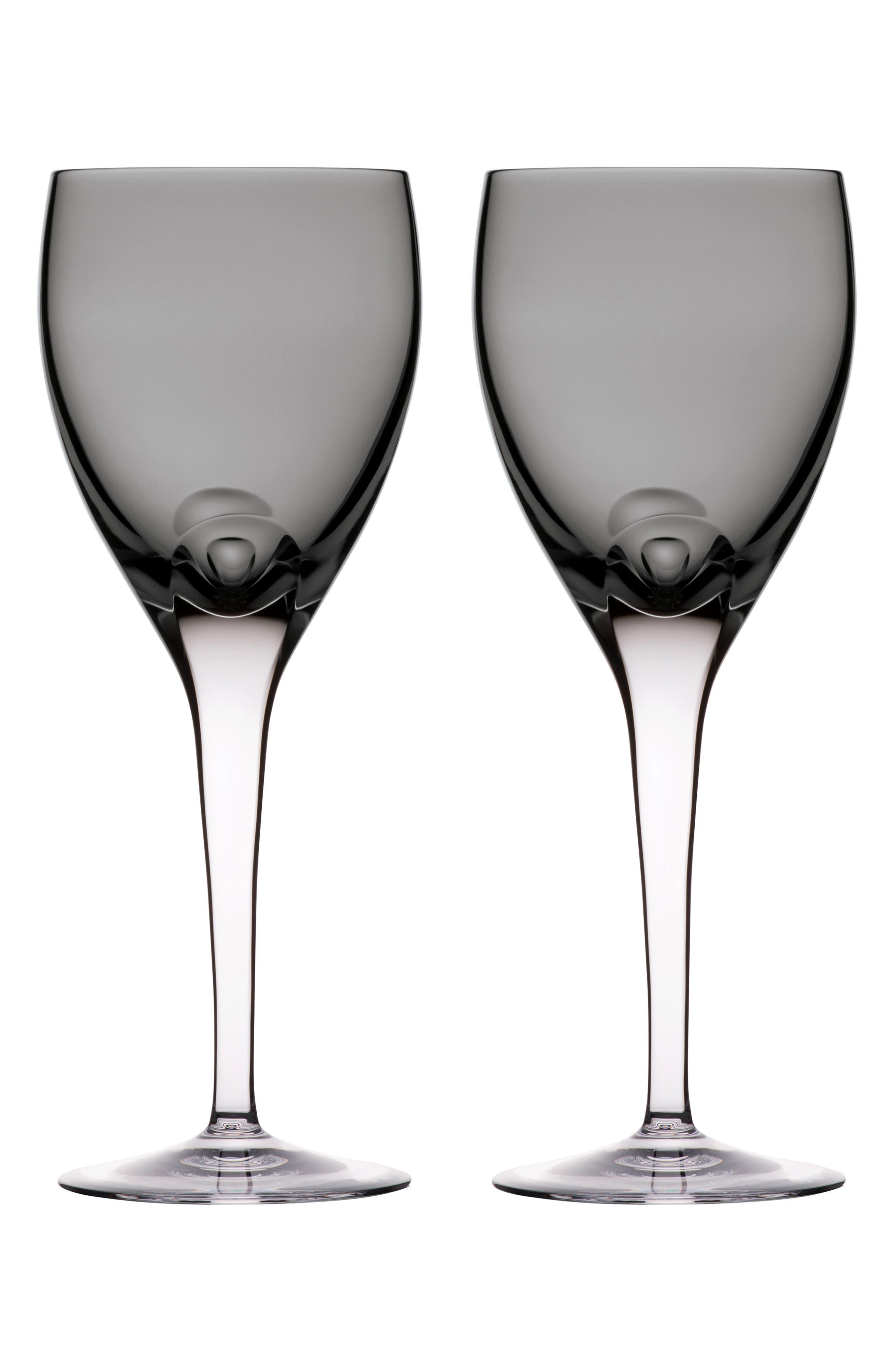 W Set of 2 Lead Crystal Wine Glasses, Main, color, SHALE