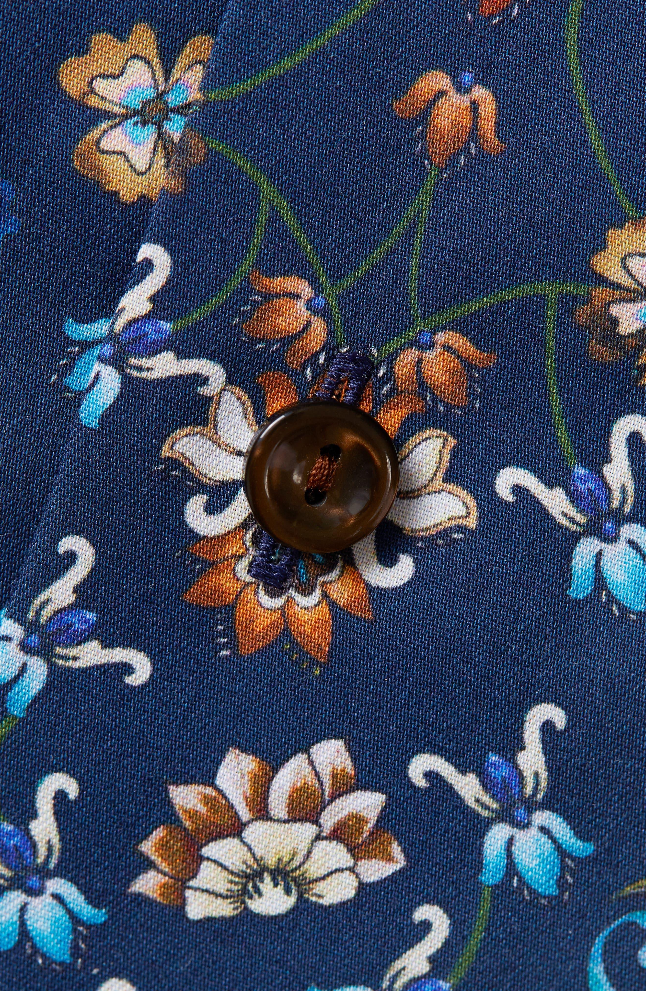 Contemporary Fit Floral Dress Shirt,                             Alternate thumbnail 2, color,                             NAVY BLUE