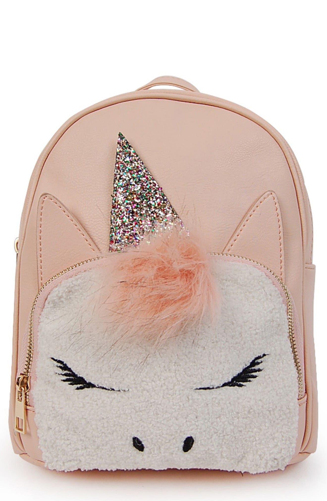 Mini Faux Fur Unicorn Backpack,                             Main thumbnail 1, color,                             BLUSH