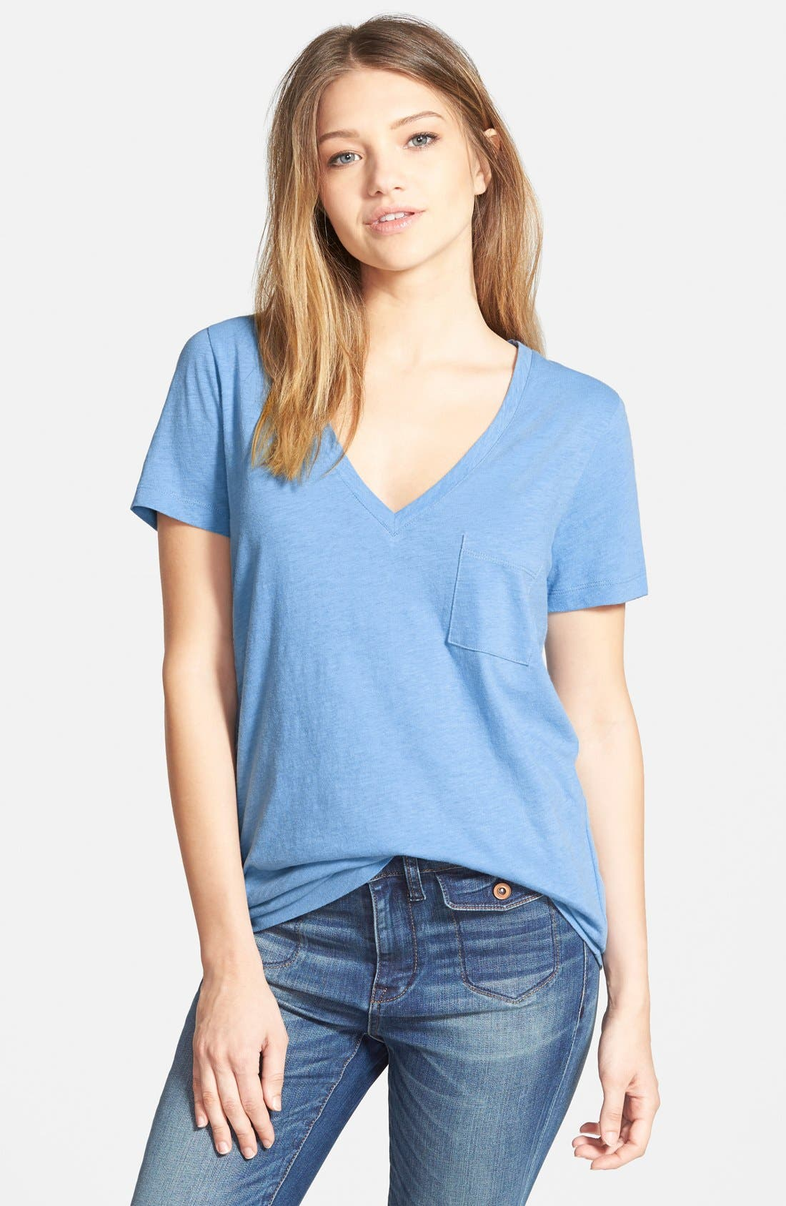 Whisper Cotton V-Neck Pocket Tee,                             Main thumbnail 21, color,