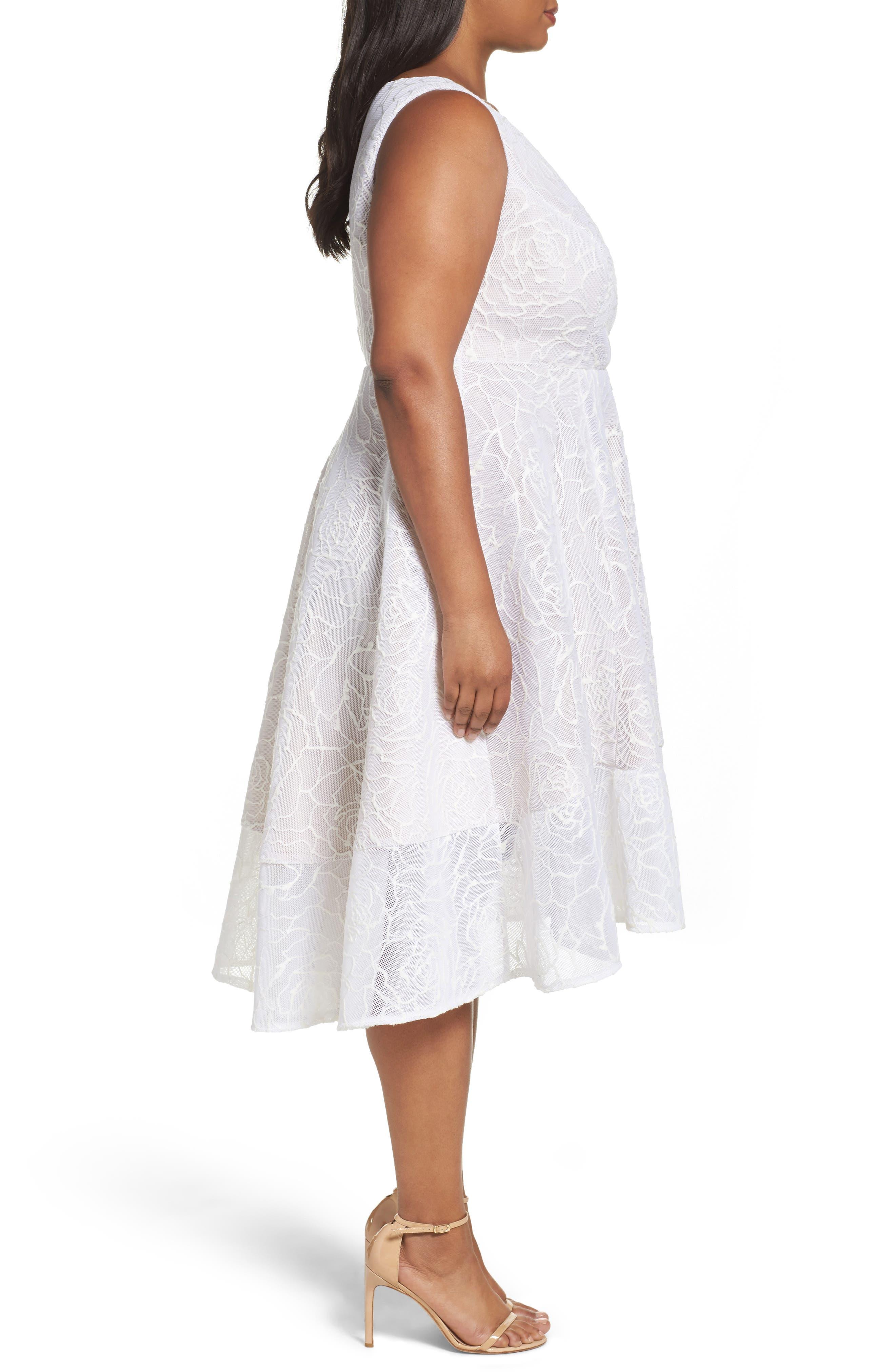 Bonded Mesh High/Low Dress,                             Alternate thumbnail 3, color,                             900