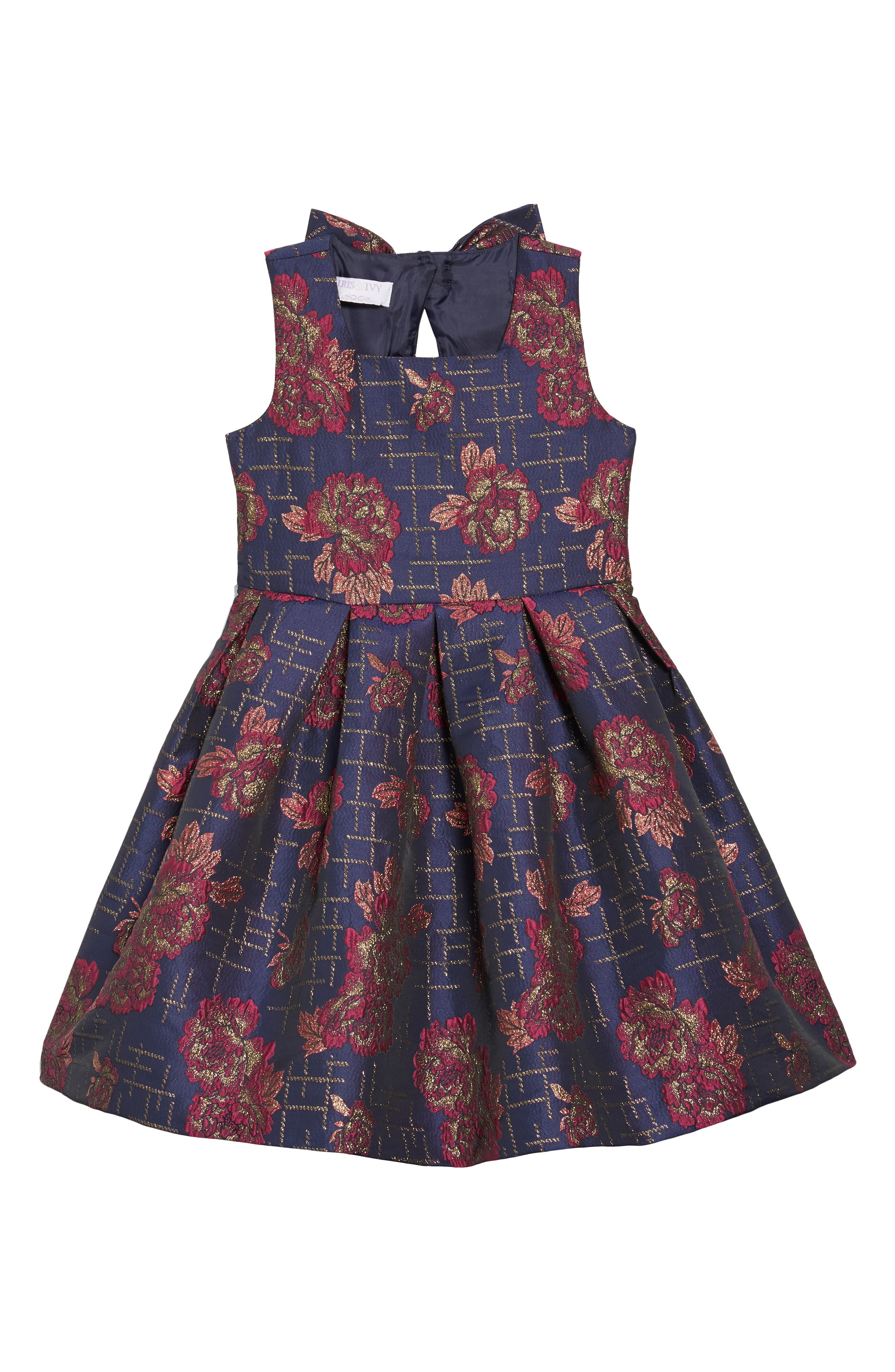 Floral Print Bow Back Dress,                         Main,                         color, NAVY MULTI