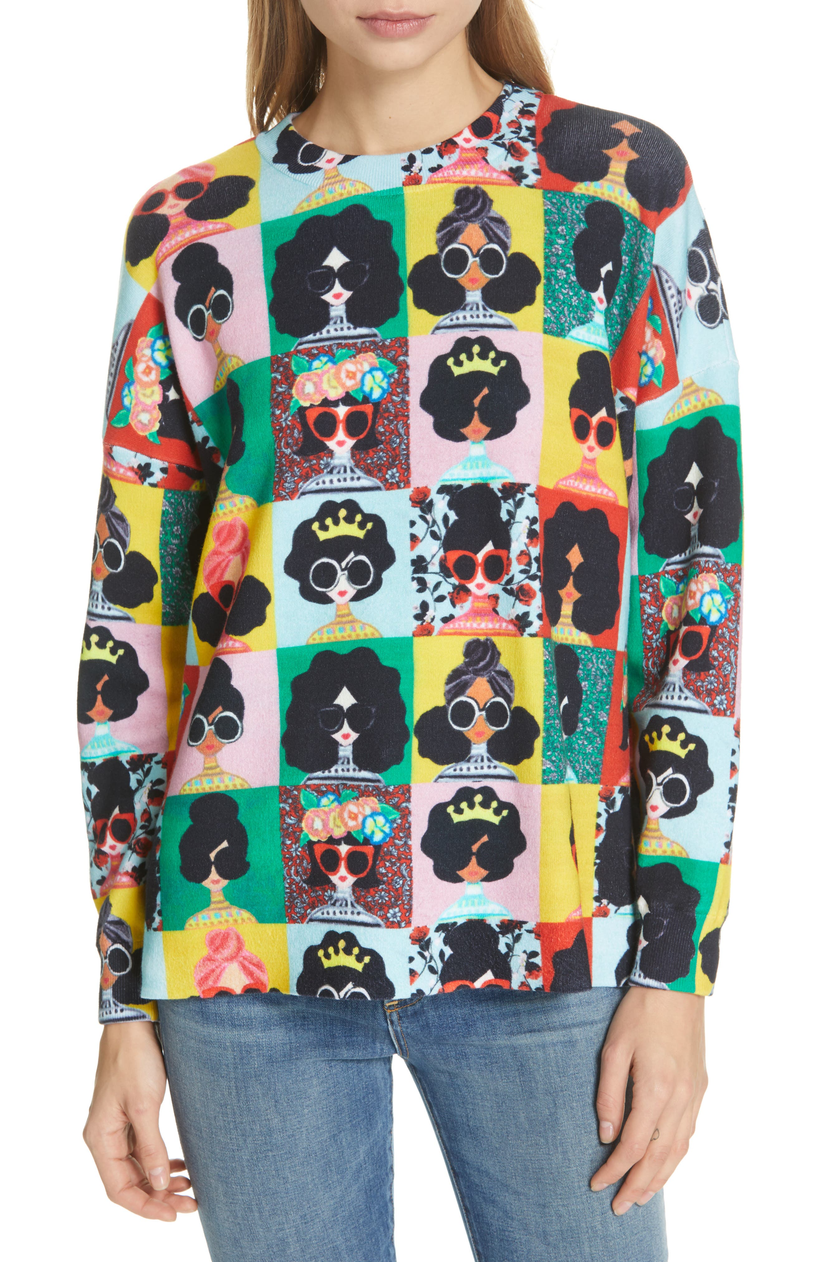 ALICE + OLIVIA,                             Print Pullover,                             Main thumbnail 1, color,                             MULTI