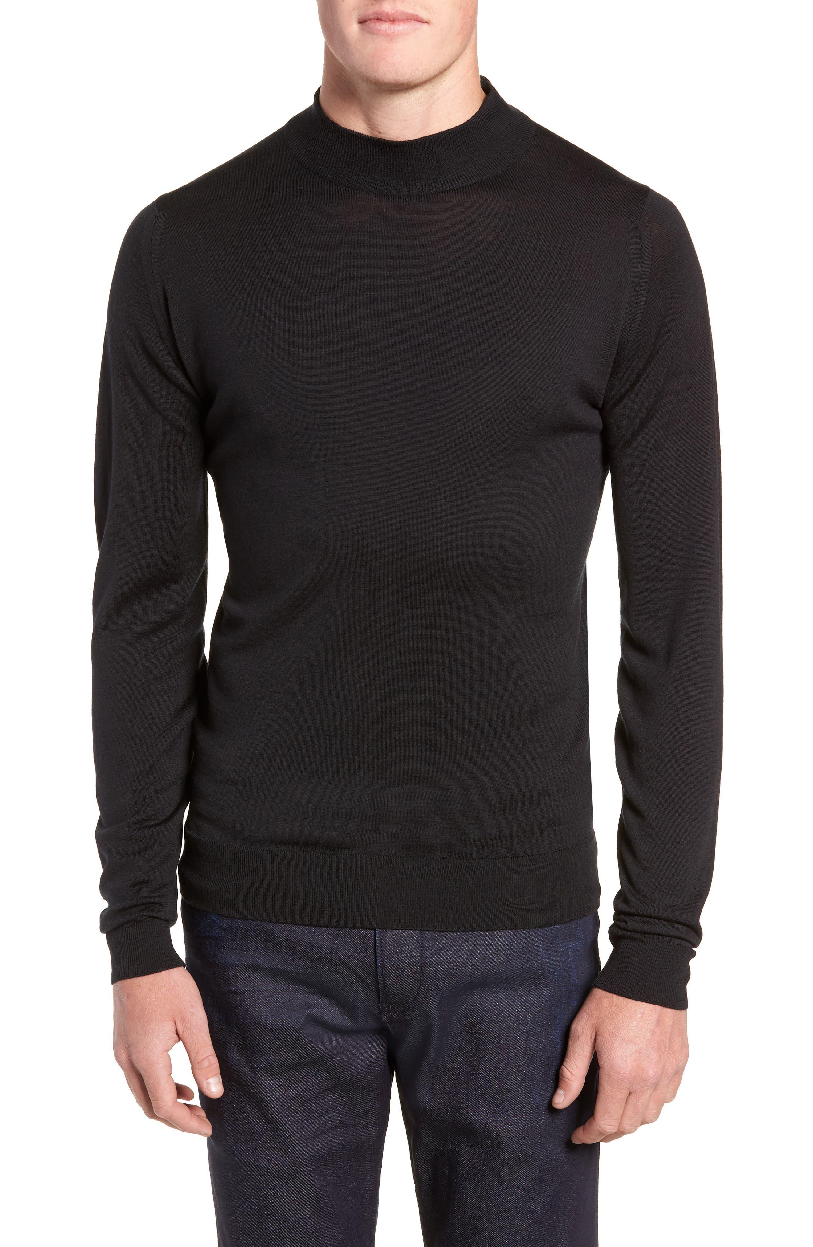 John Smedley Slim Fit Mock Neck Merino Wool Sweater, Black