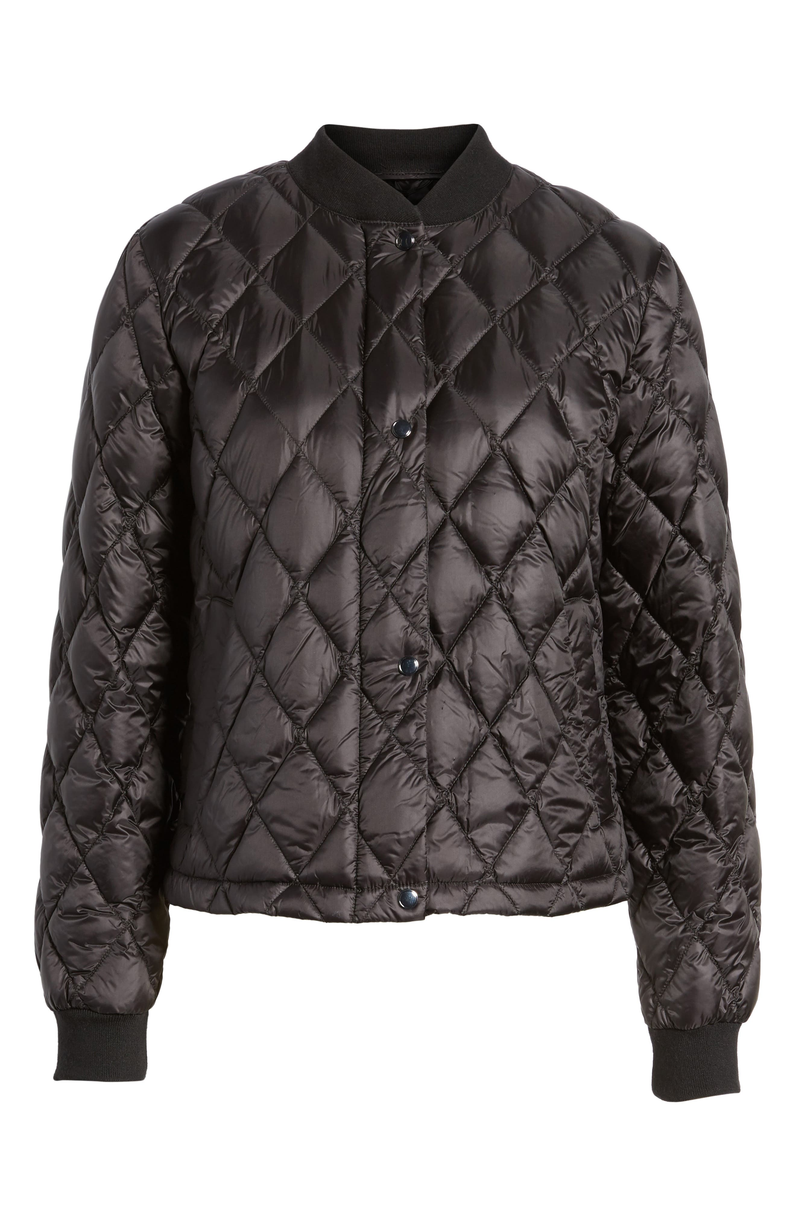 Quilted Down Bomber Jacket,                             Alternate thumbnail 5, color,                             001