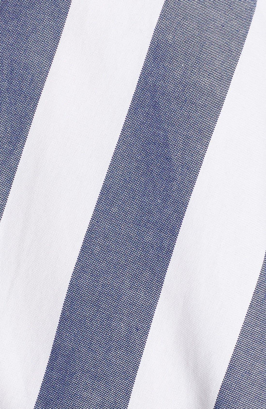 Cotton Fit & Flare Dress,                             Alternate thumbnail 3, color,                             BLUE/ IVORY