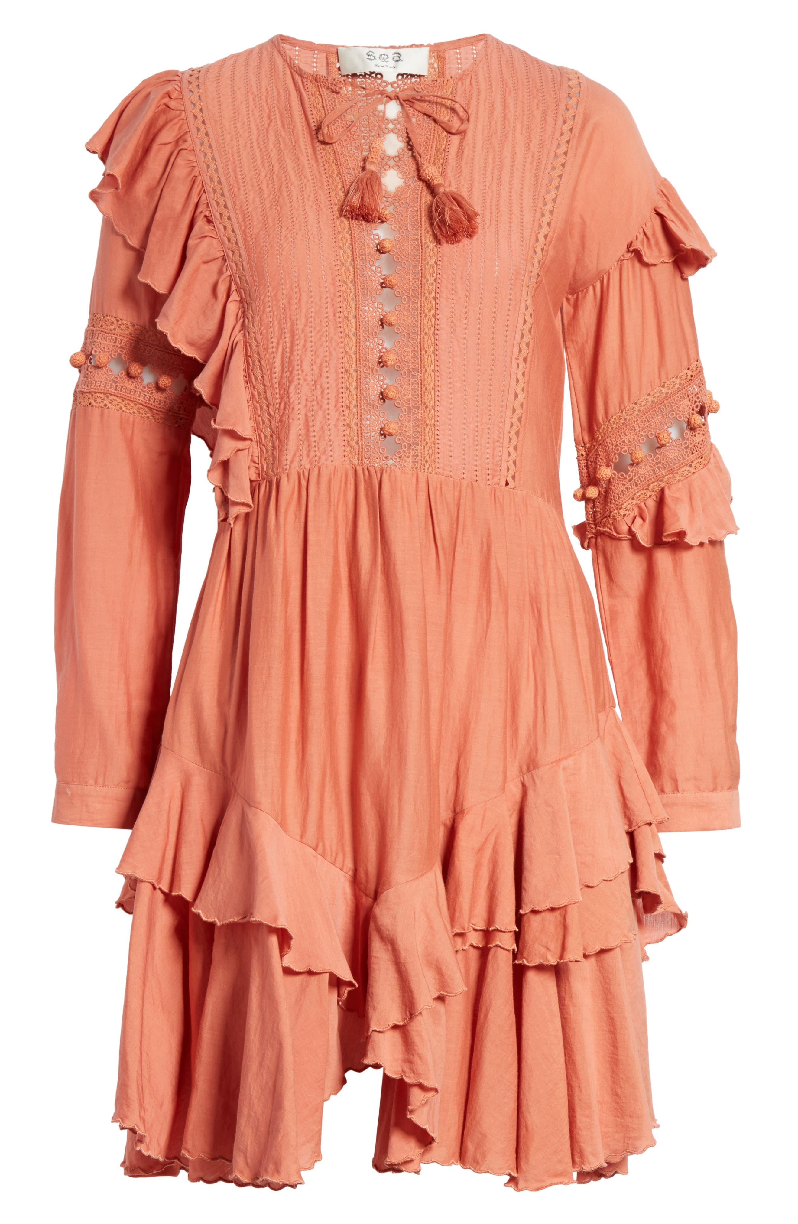 Weatherly Crochet Pompom Dress,                             Alternate thumbnail 6, color,