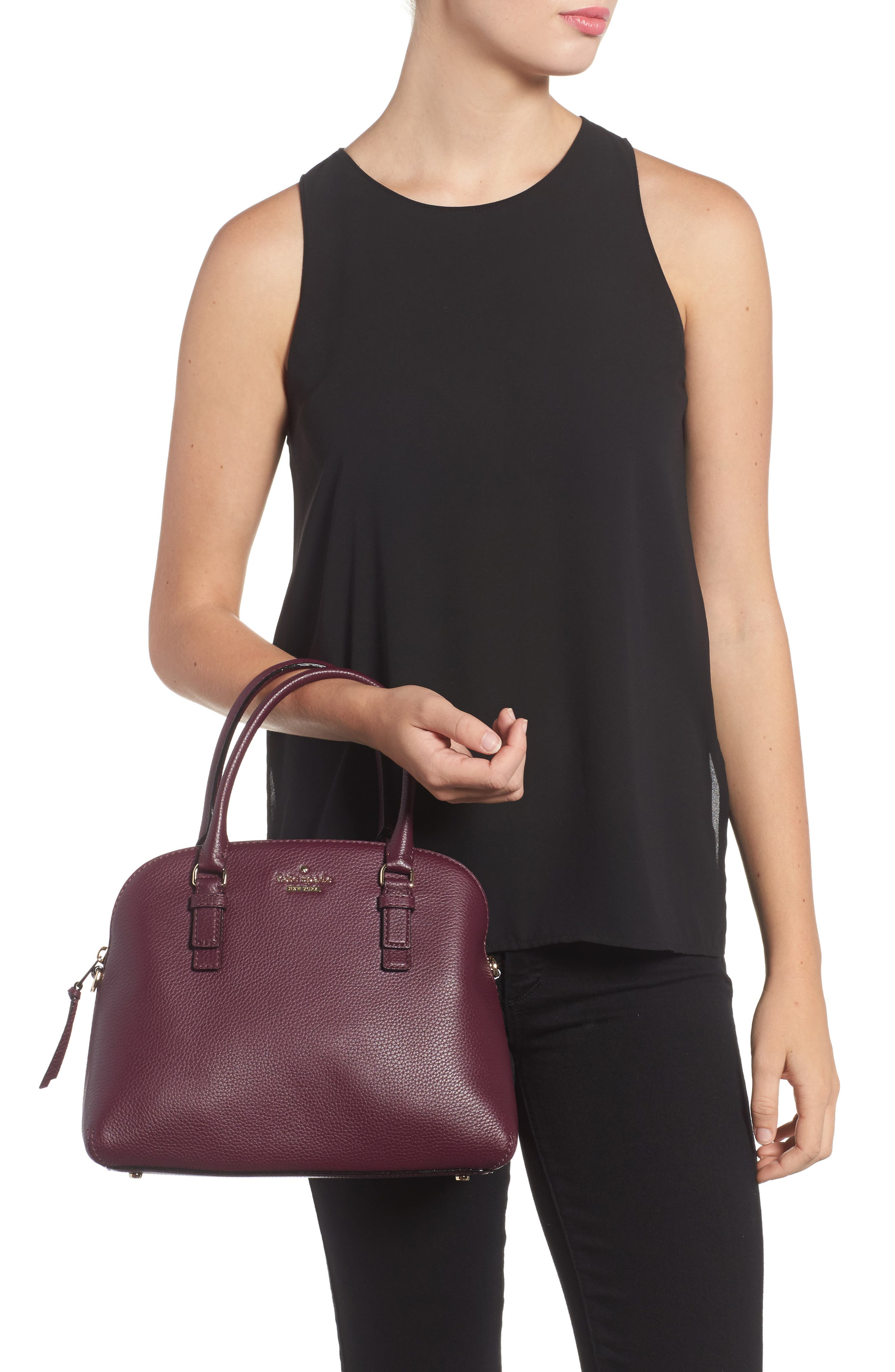 jackson street lottie leather satchel,                             Alternate thumbnail 6, color,