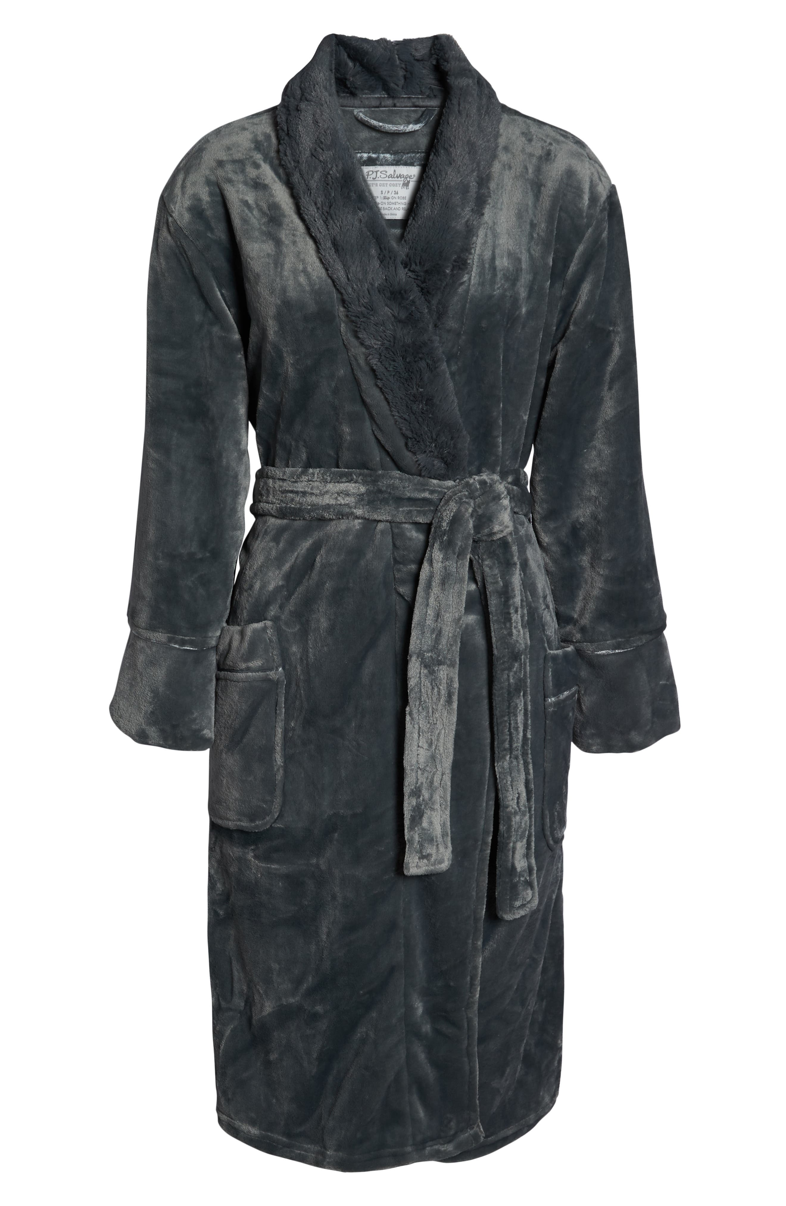 Luxe Faux Fur Robe,                             Alternate thumbnail 6, color,                             GREY