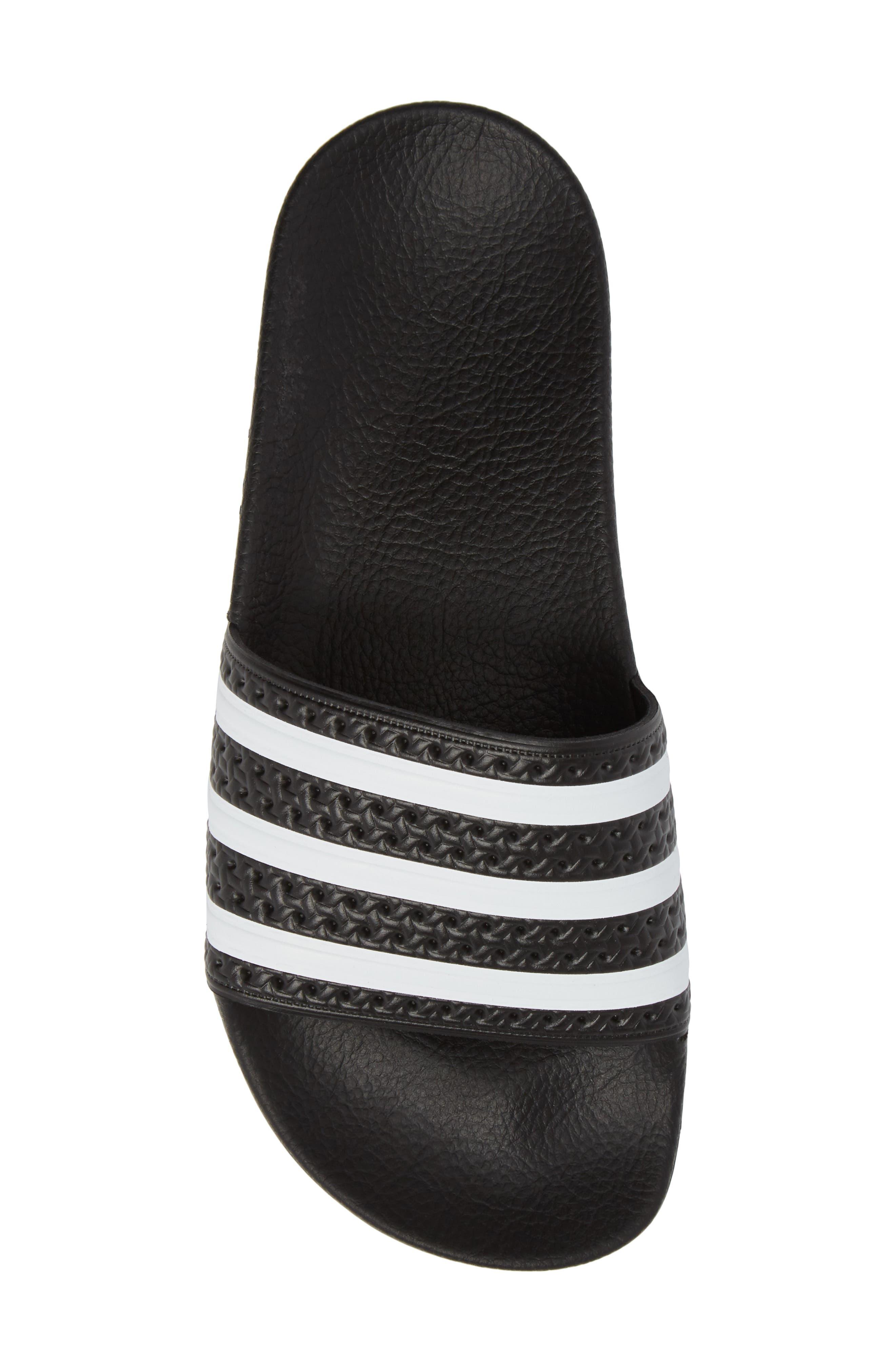 'Adilette' Slide Sandal,                             Alternate thumbnail 5, color,                             CORE BLACK/ WHITE/ CORE BLACK