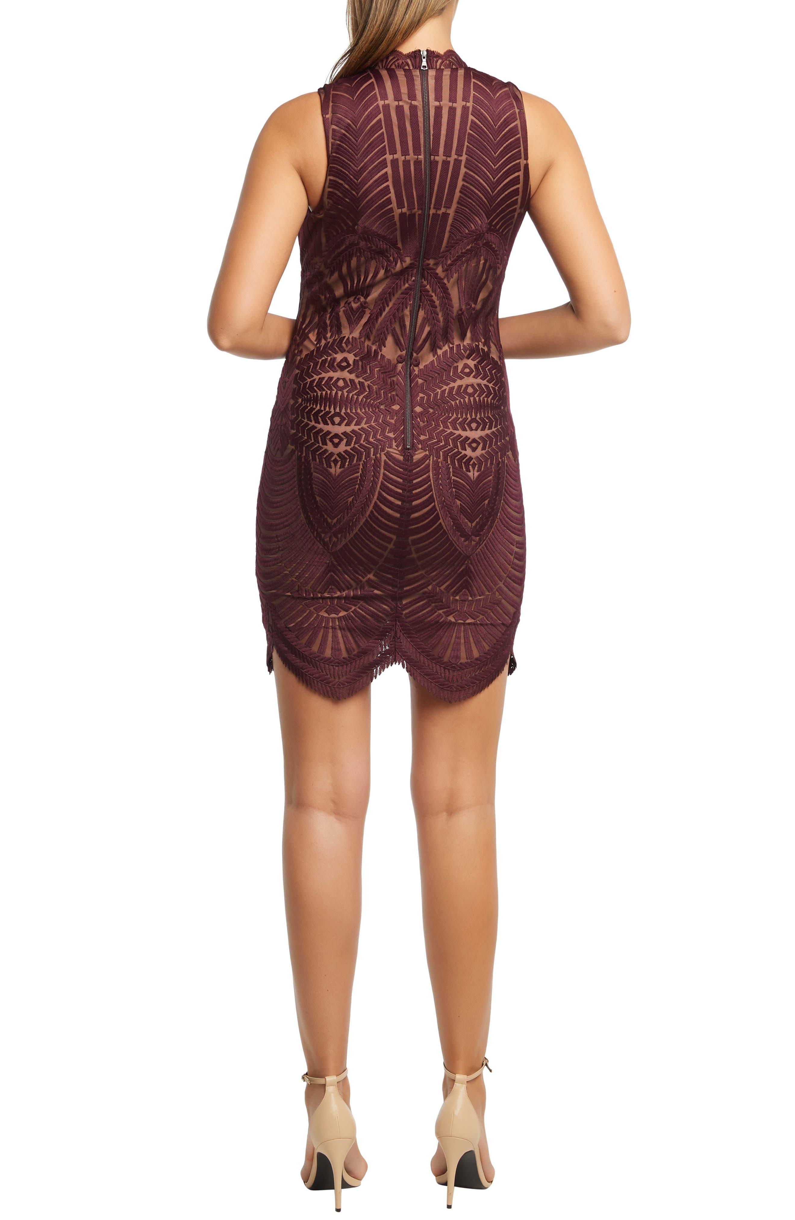 Alice Lace Body-Con Dress,                             Alternate thumbnail 2, color,                             PINOT NOIR