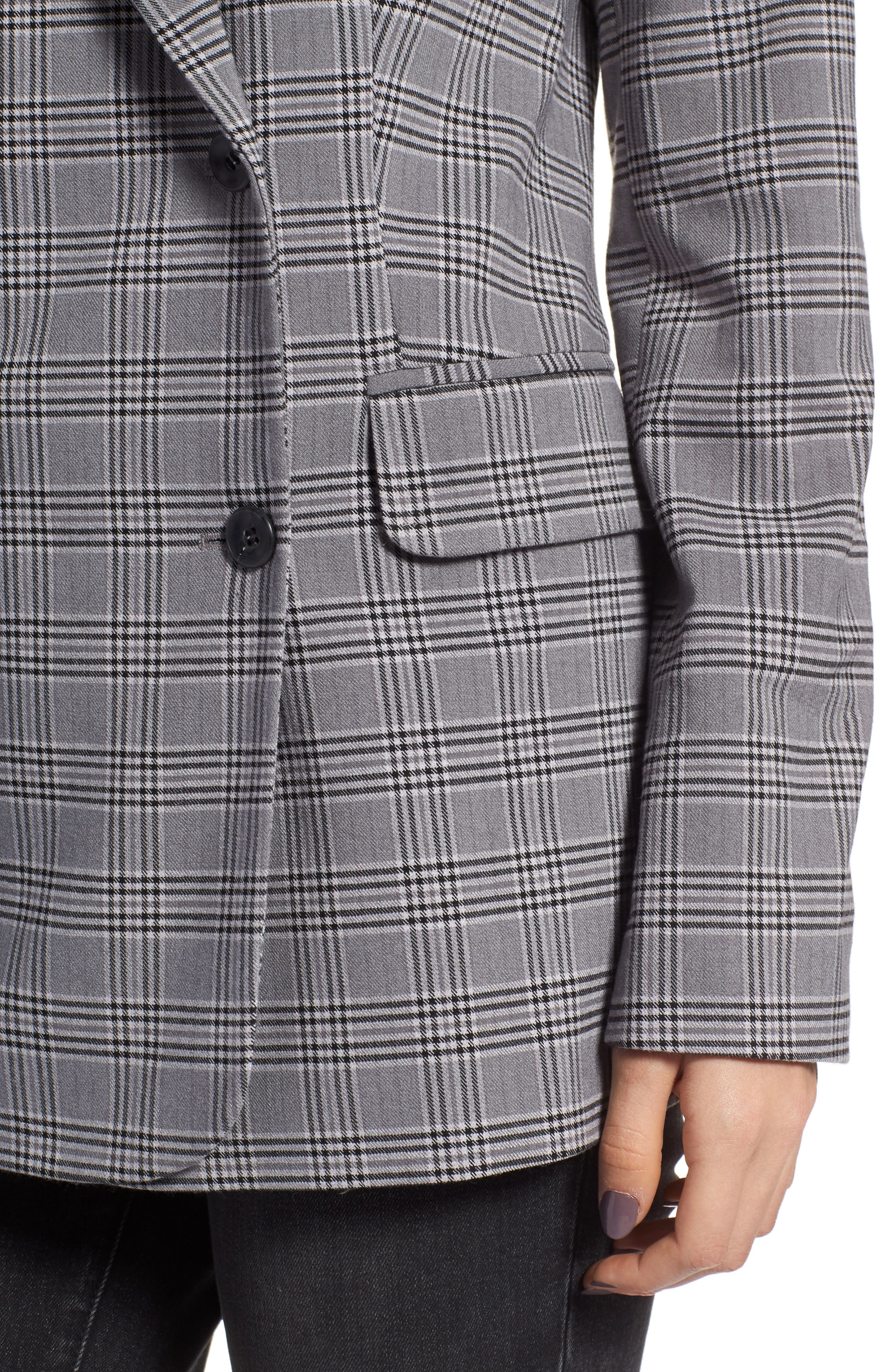 TREASURE & BOND,                             Plaid Oversized Blazer,                             Alternate thumbnail 4, color,                             GREY CASTLEROCK CHECK