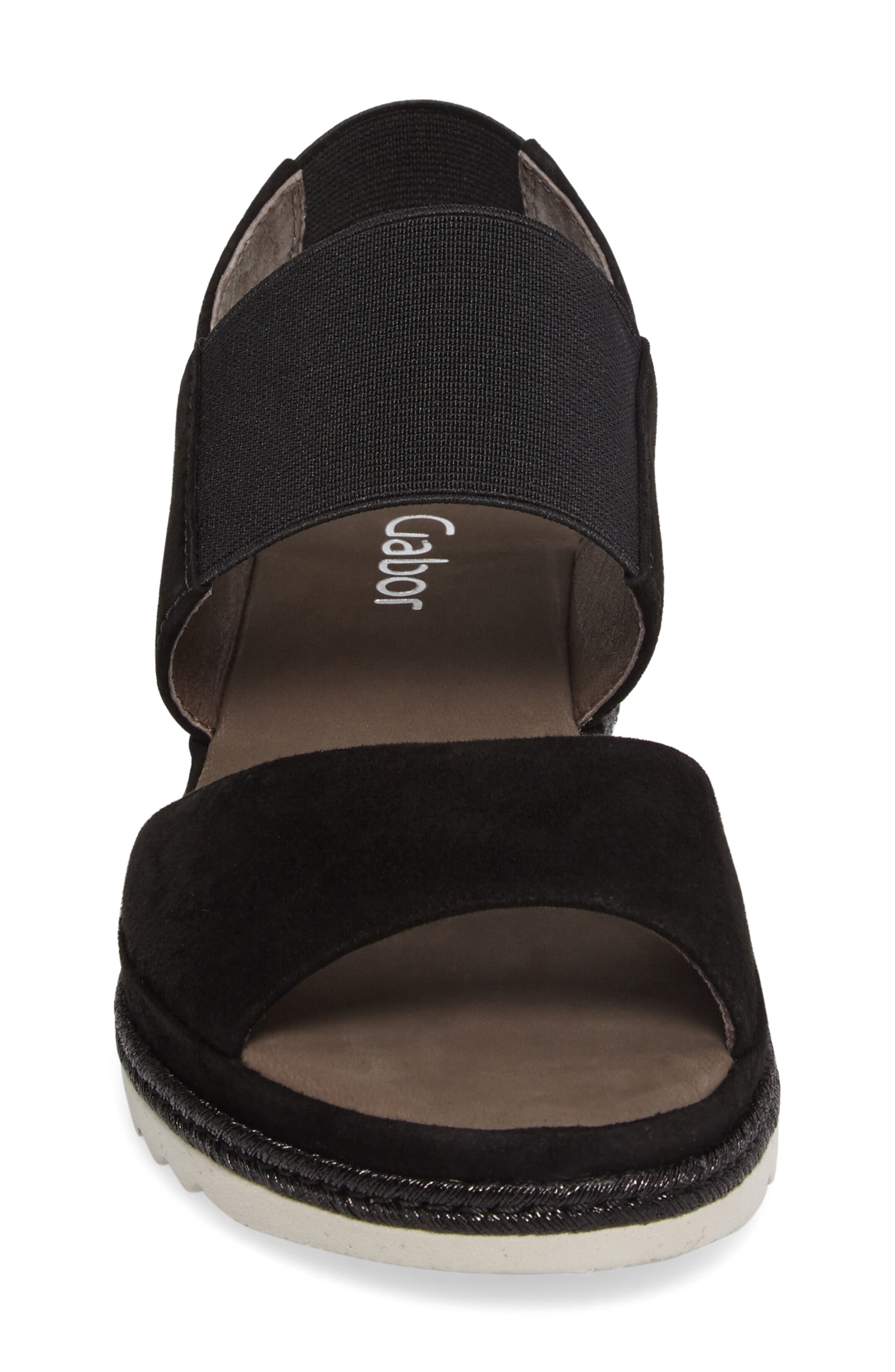 Low Wedge Sandal,                             Alternate thumbnail 4, color,                             001
