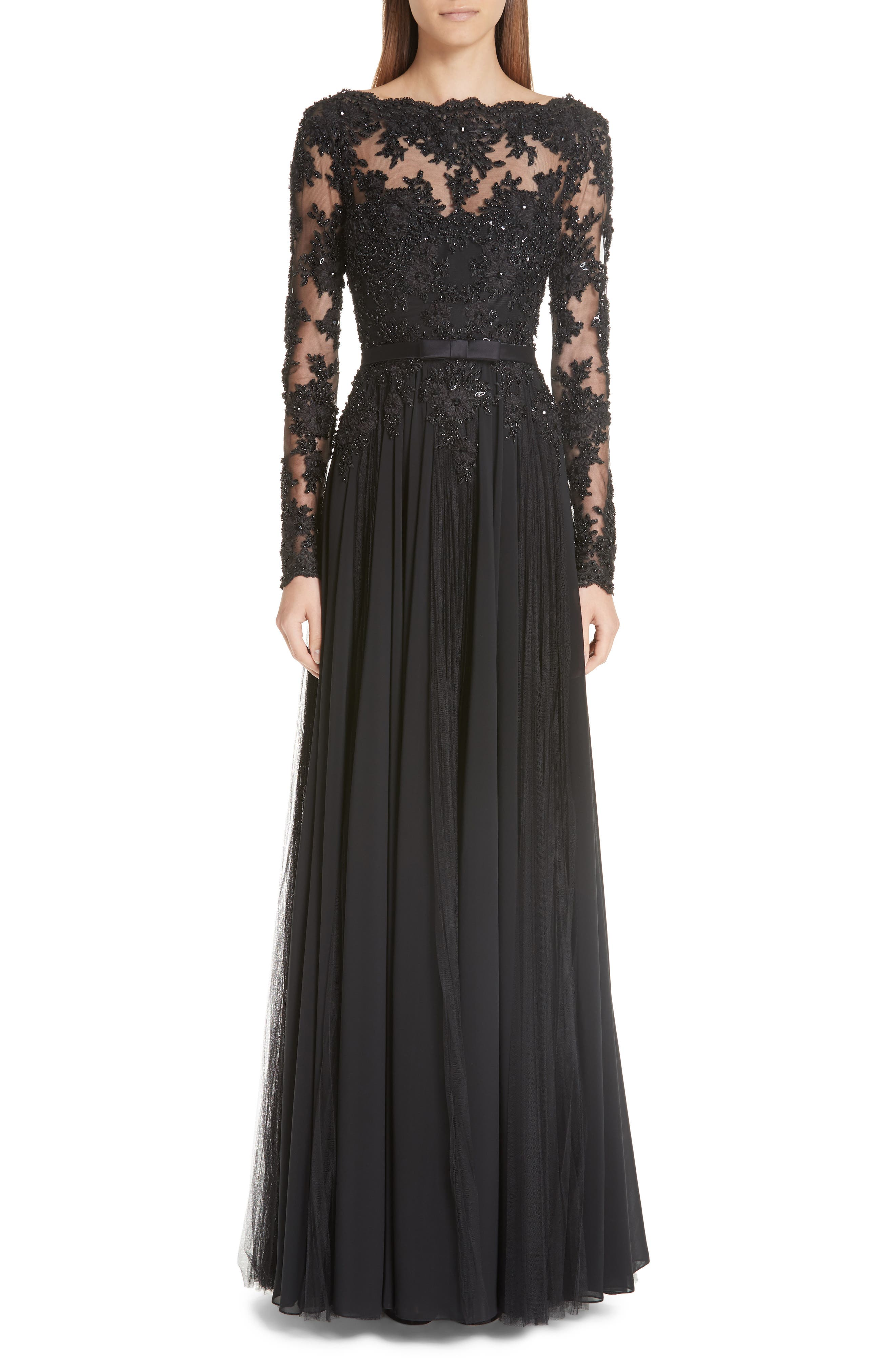 Badgley Mischka Collection Beaded Silk A-Line Gown, Black