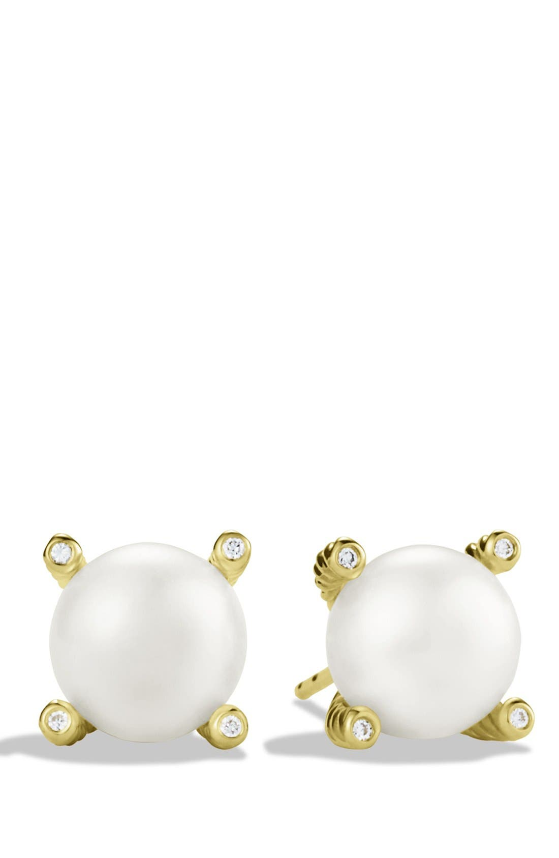 Pearl Earrings with Diamonds in Gold,                             Main thumbnail 1, color,                             PEARL