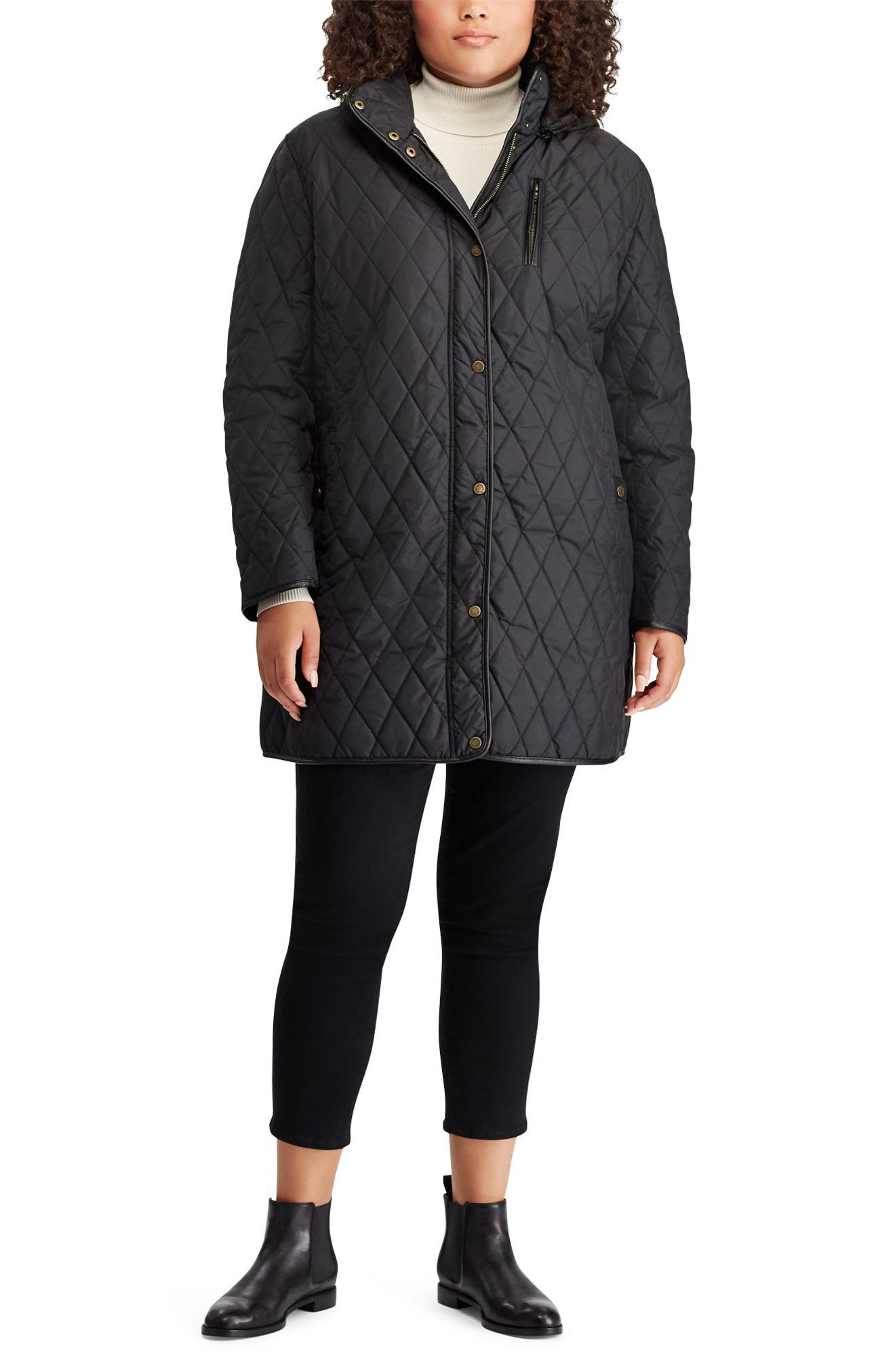 Quilted Coat,                             Alternate thumbnail 4, color,                             BLACK