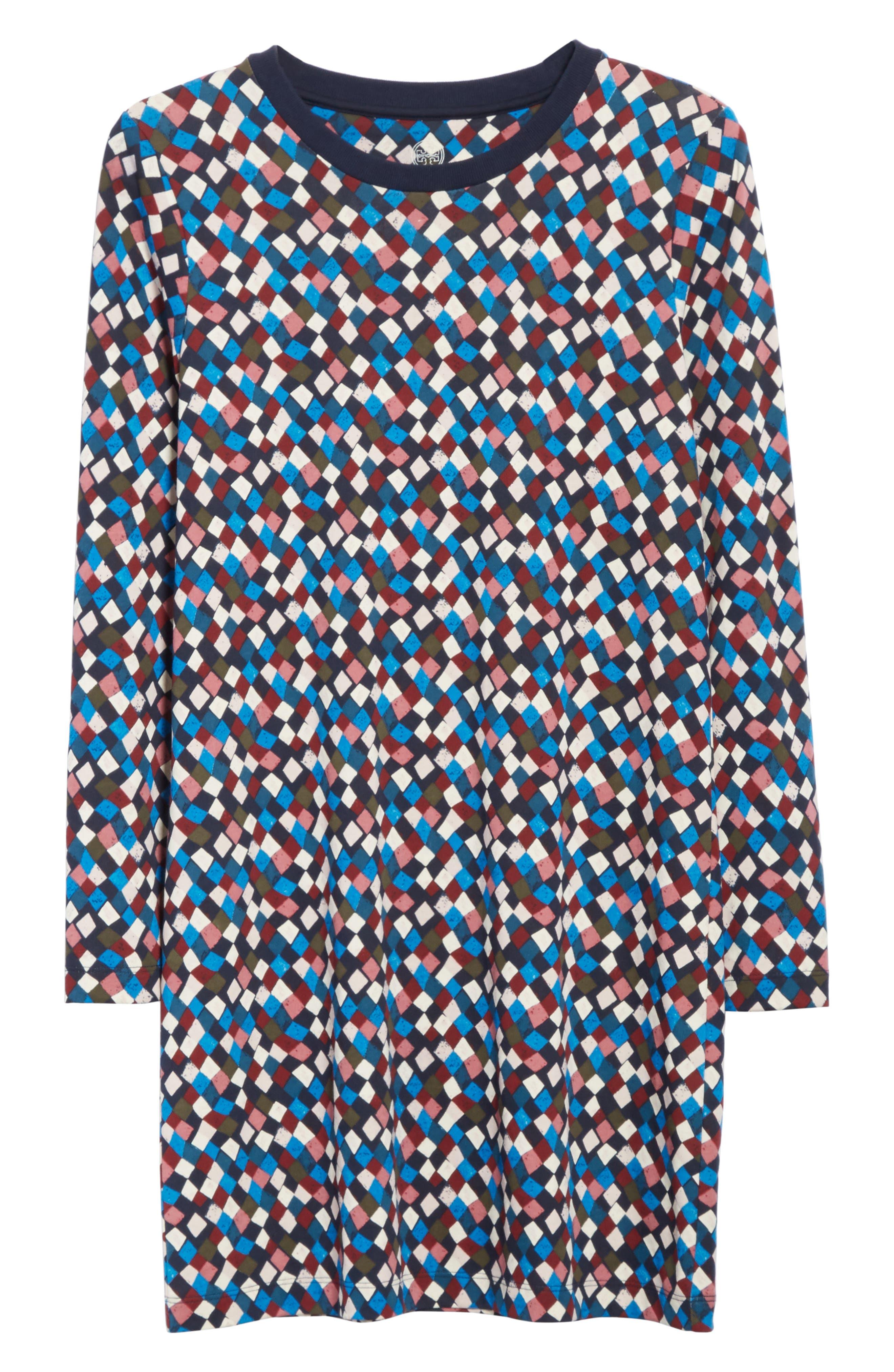 Maggie Print Cotton Shift Dress,                             Alternate thumbnail 6, color,                             487