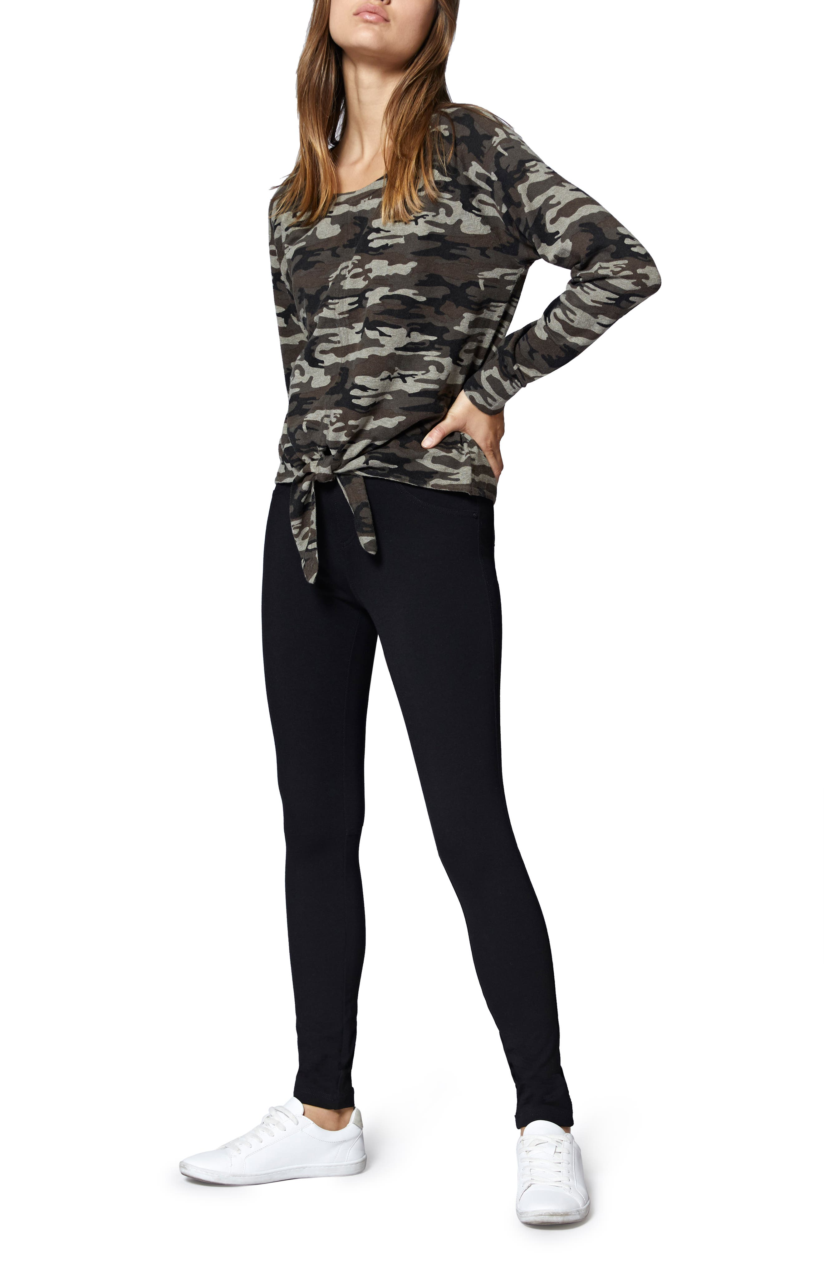 Laguna Camouflage Tie Front Top,                             Alternate thumbnail 4, color,                             HUMAN NATURE CAMO