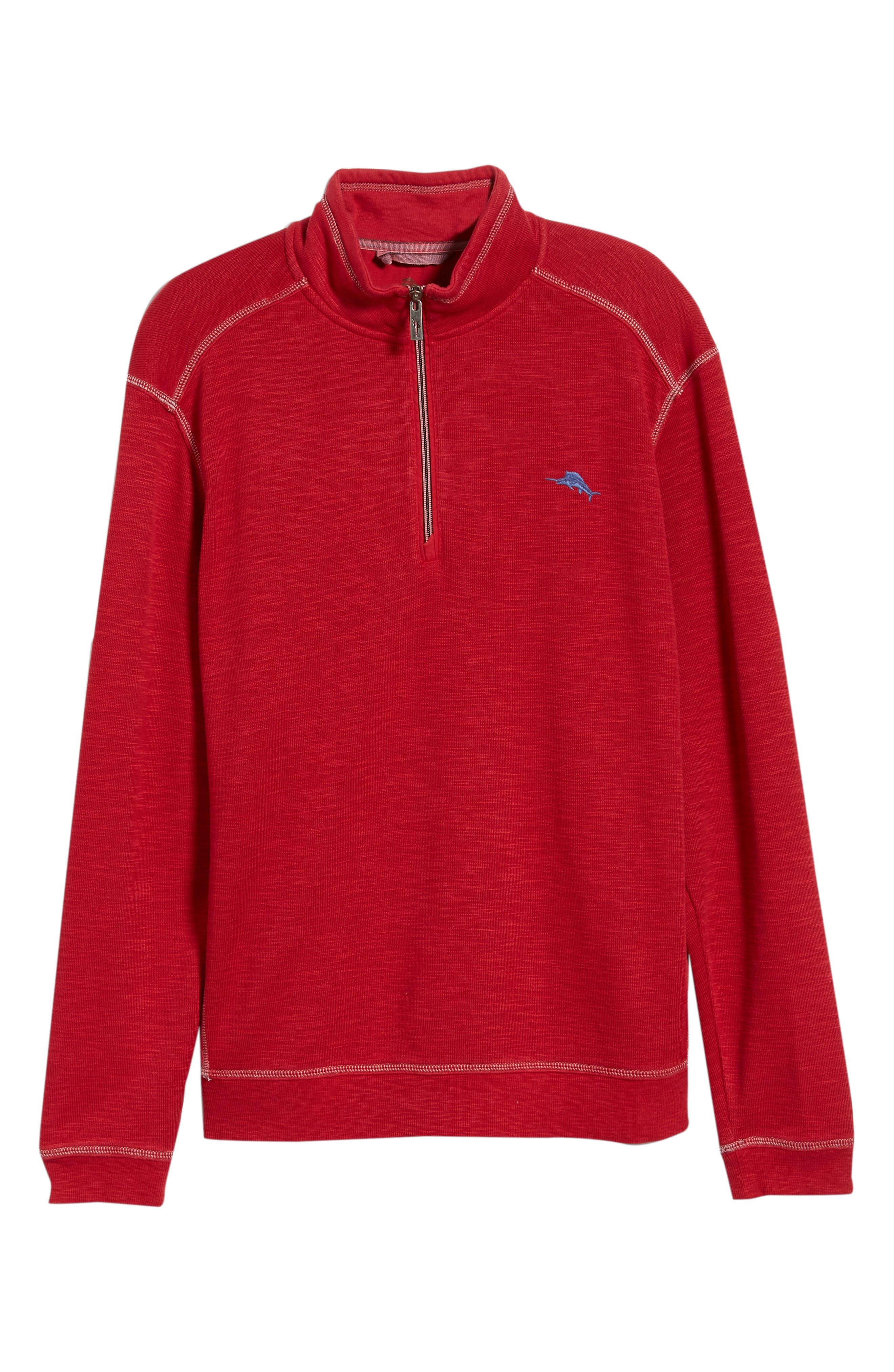 Tobago Bay Half Zip Pullover,                             Alternate thumbnail 6, color,                             SCOOTER RED