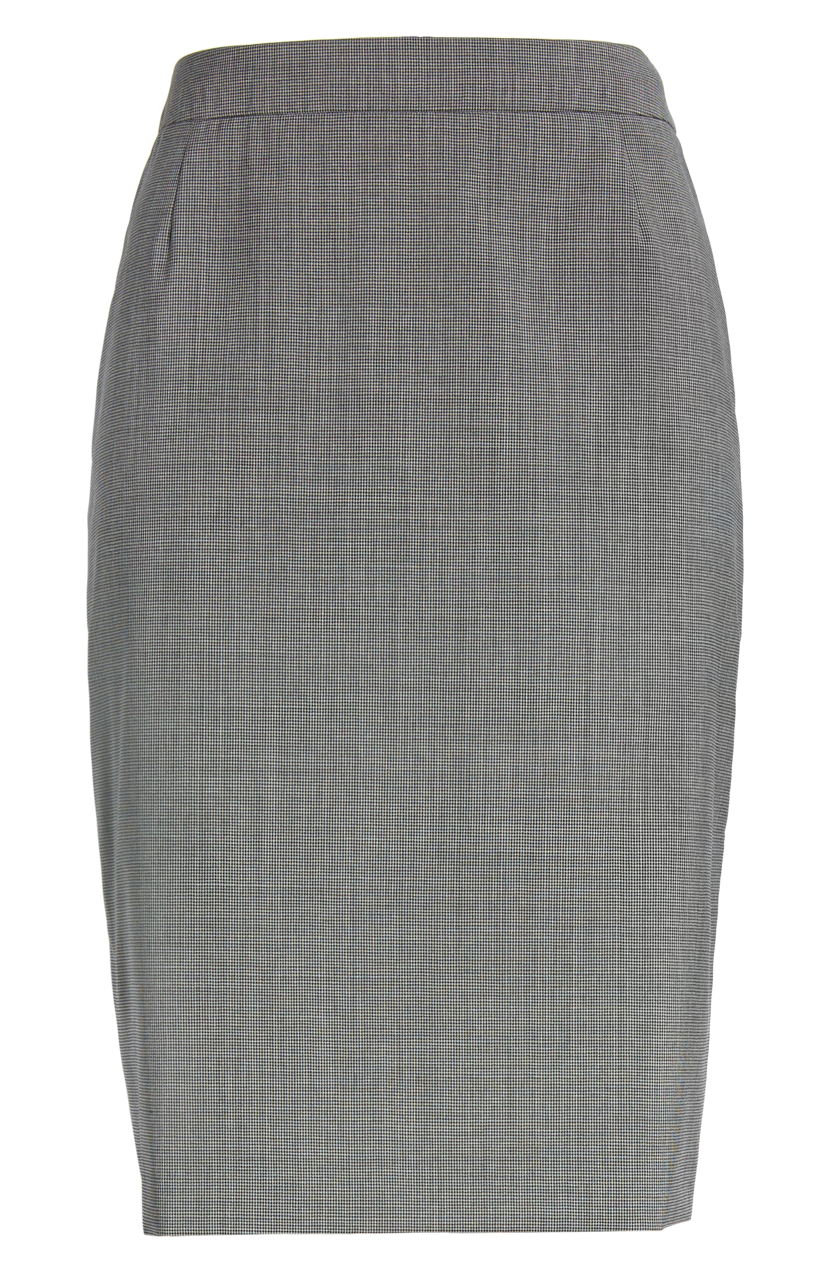 Vimena Mini Houndstooth Stretch Wool Pencil Skirt,                             Alternate thumbnail 6, color,                             060