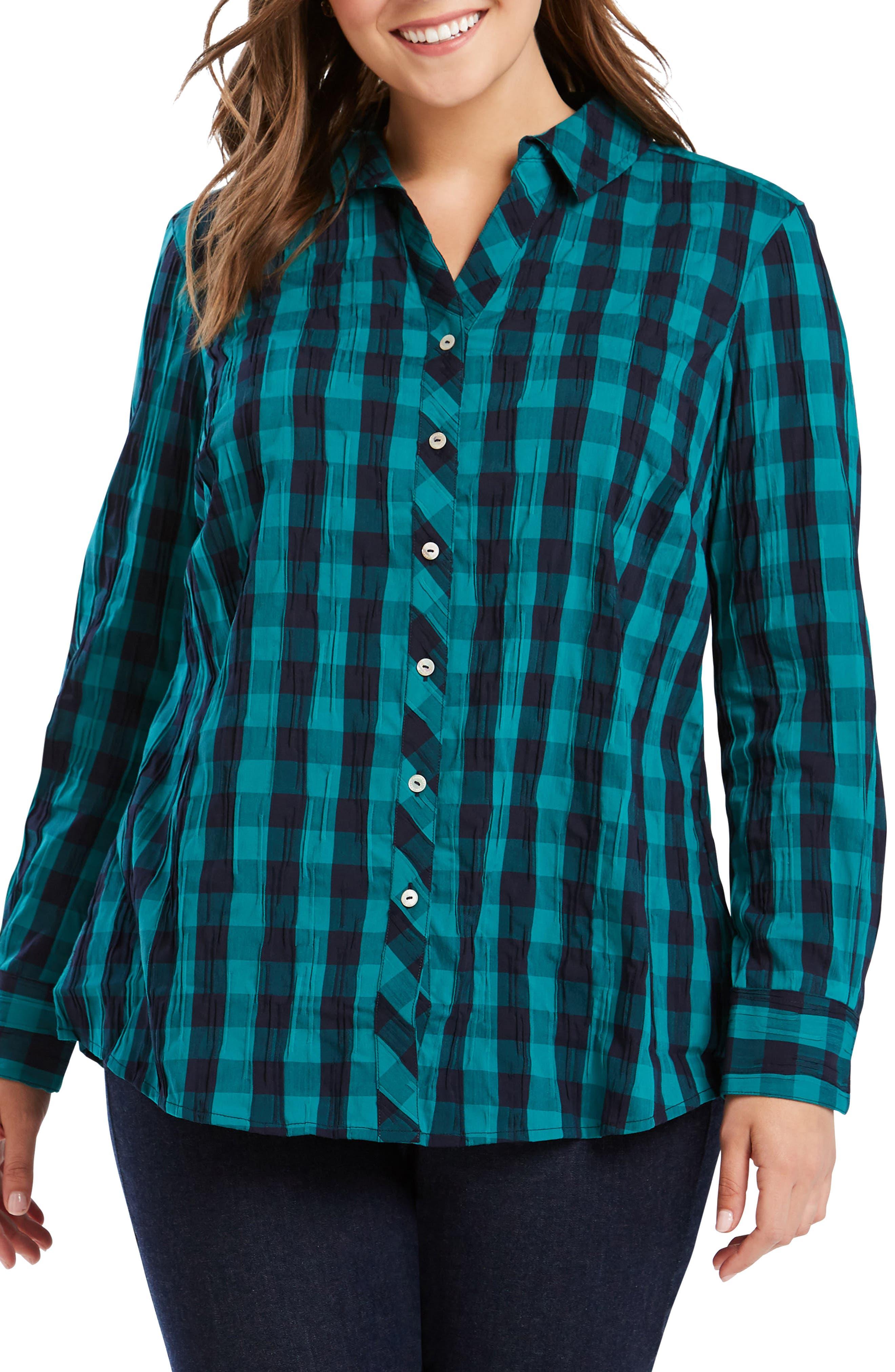Mary Buffalo Check Crinkle Shirt, Main, color, EMERALD CUT