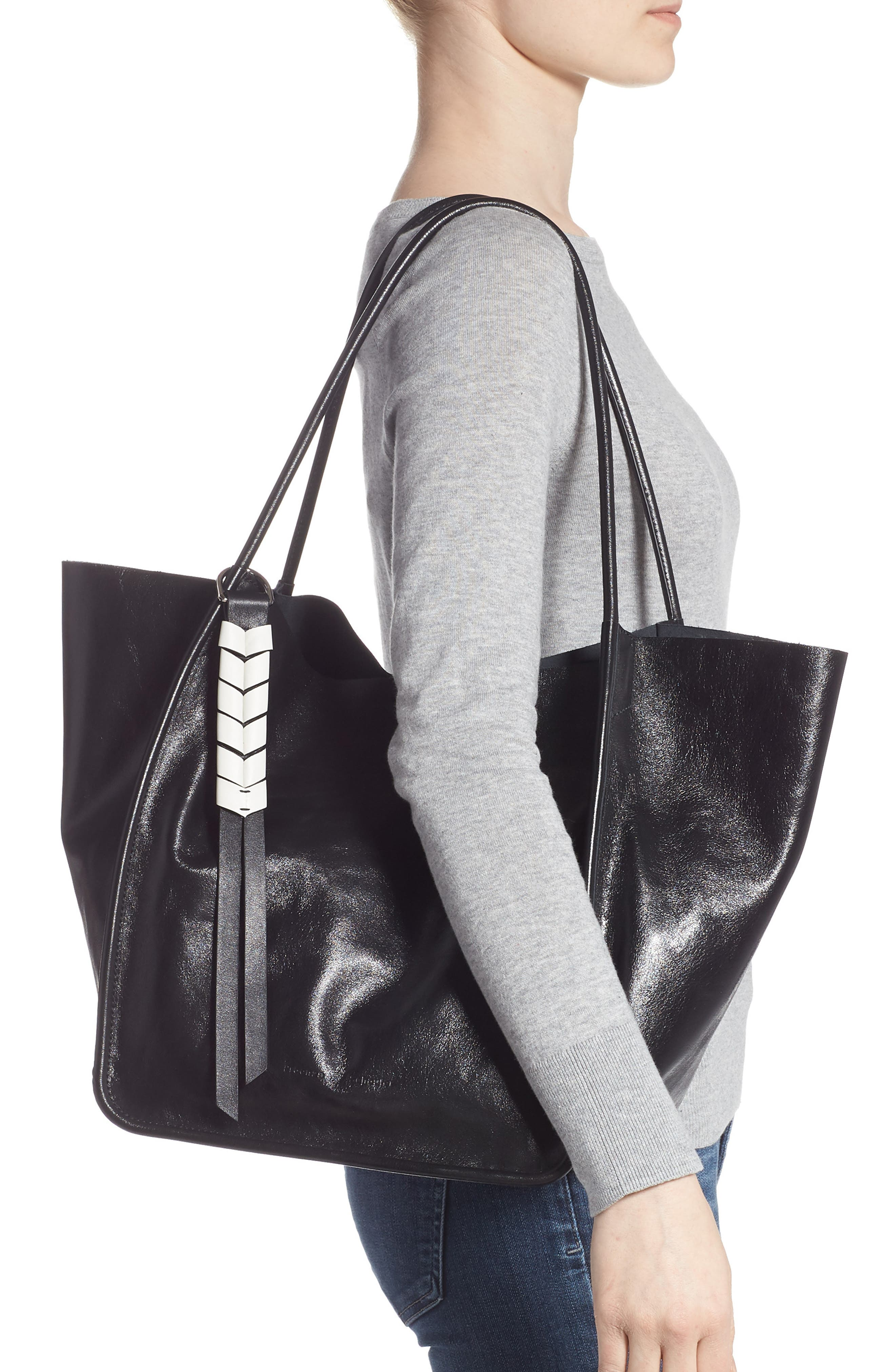 Large Calfskin Leather Tote,                             Alternate thumbnail 2, color,                             BLACK