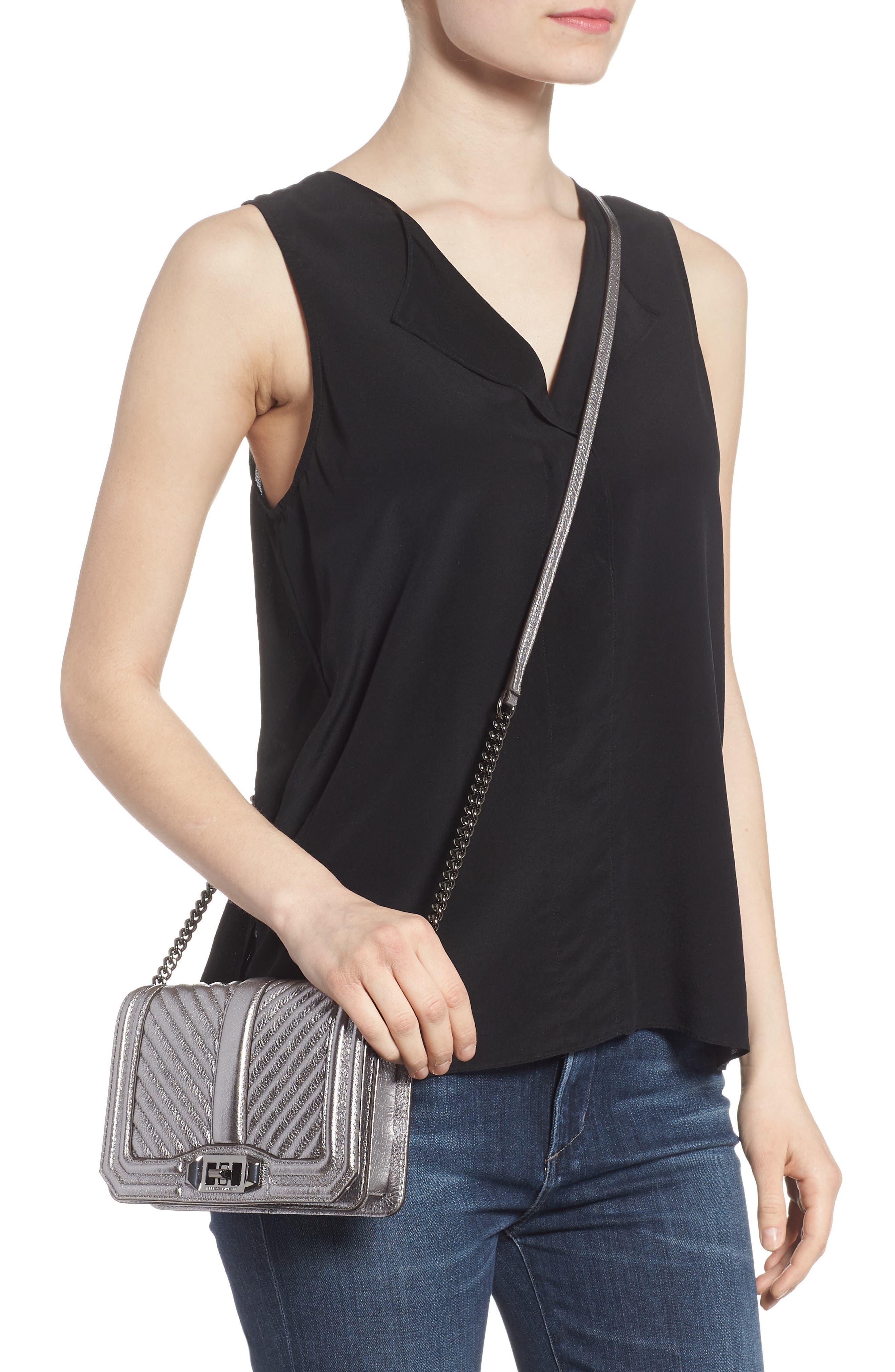 Small Love Metallic Leather Crossbody Bag,                             Alternate thumbnail 4, color,