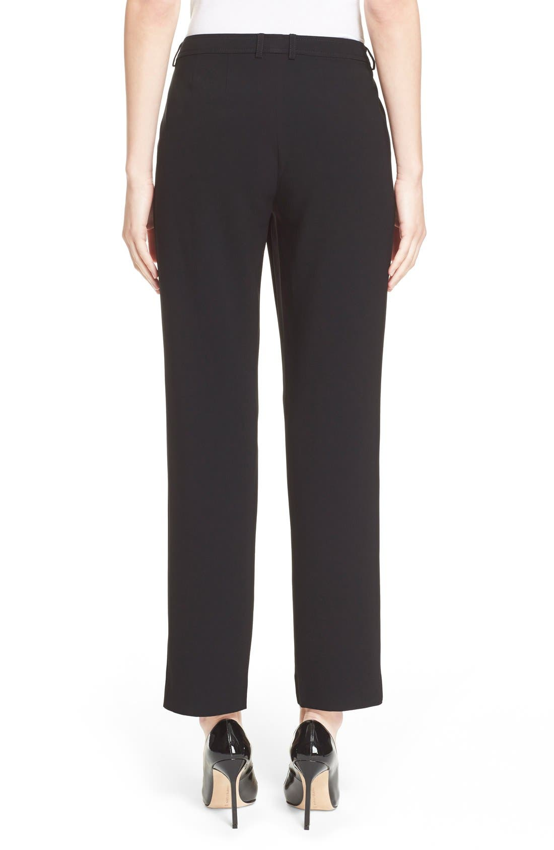 'Jennifer' Crepe Marocain Ankle Pants,                             Alternate thumbnail 3, color,                             CAVIAR